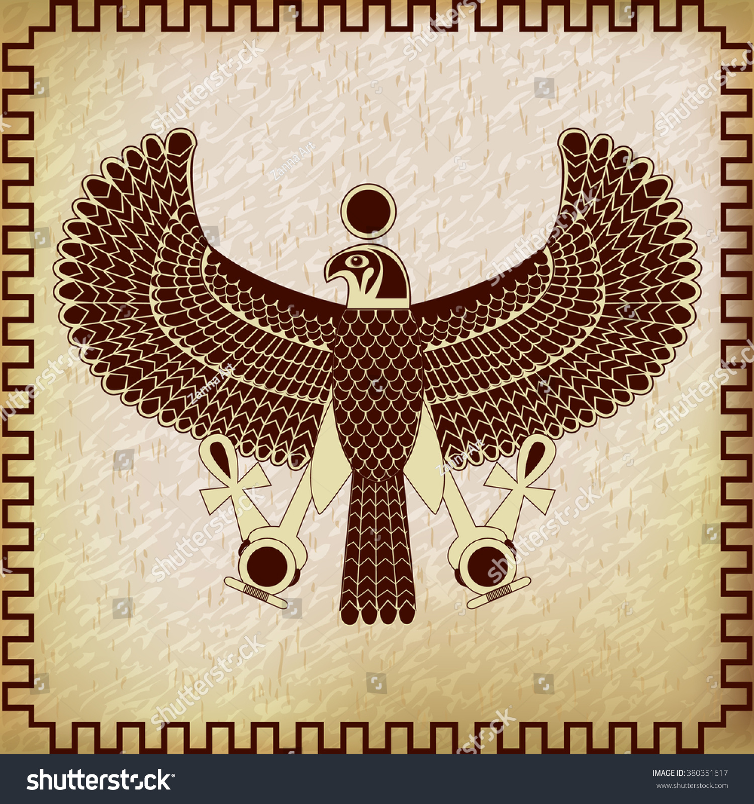 Ancient Egyptian Symbol Horus Falcon God Stock Vector ...