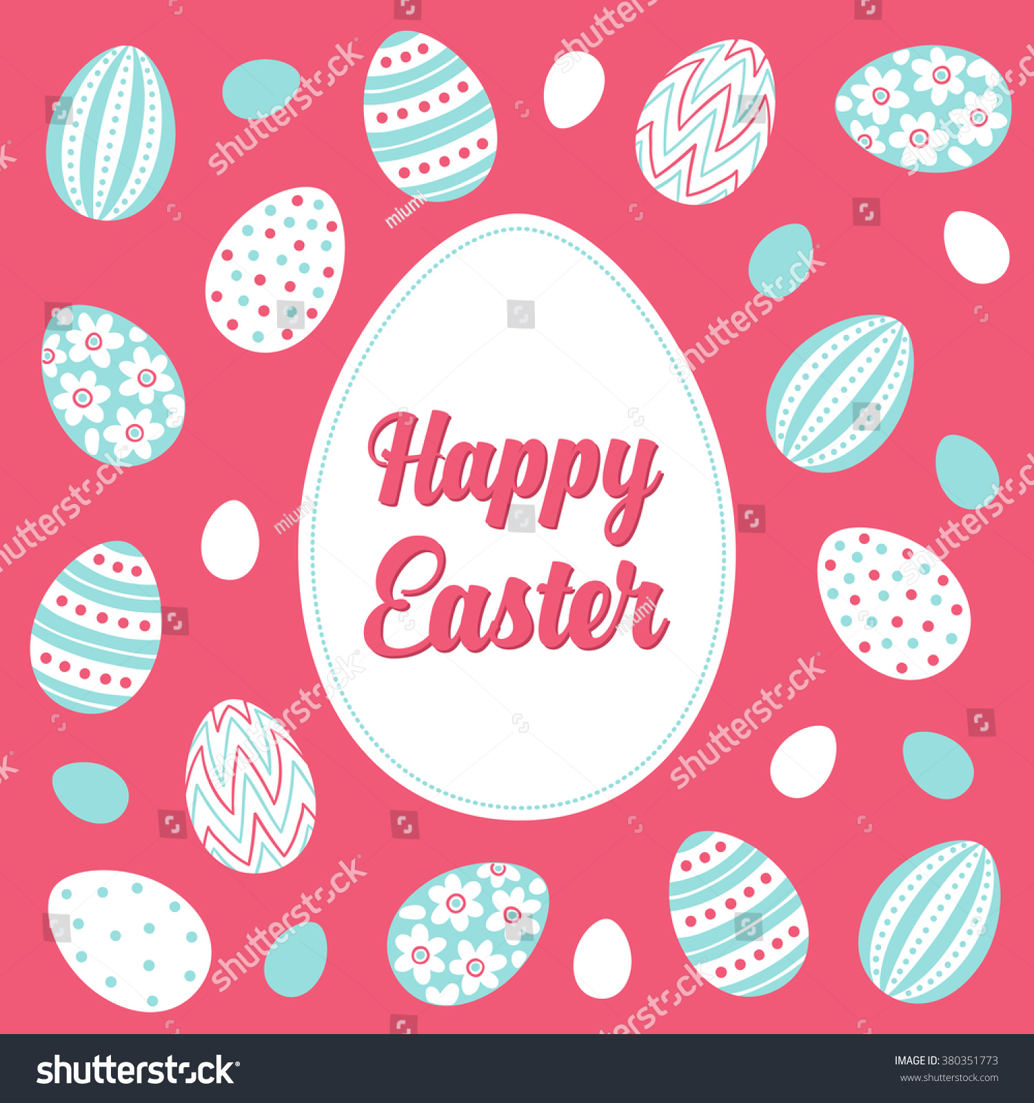Easter Greeting Card Floral Striped Dotted Stock Vector 380351773