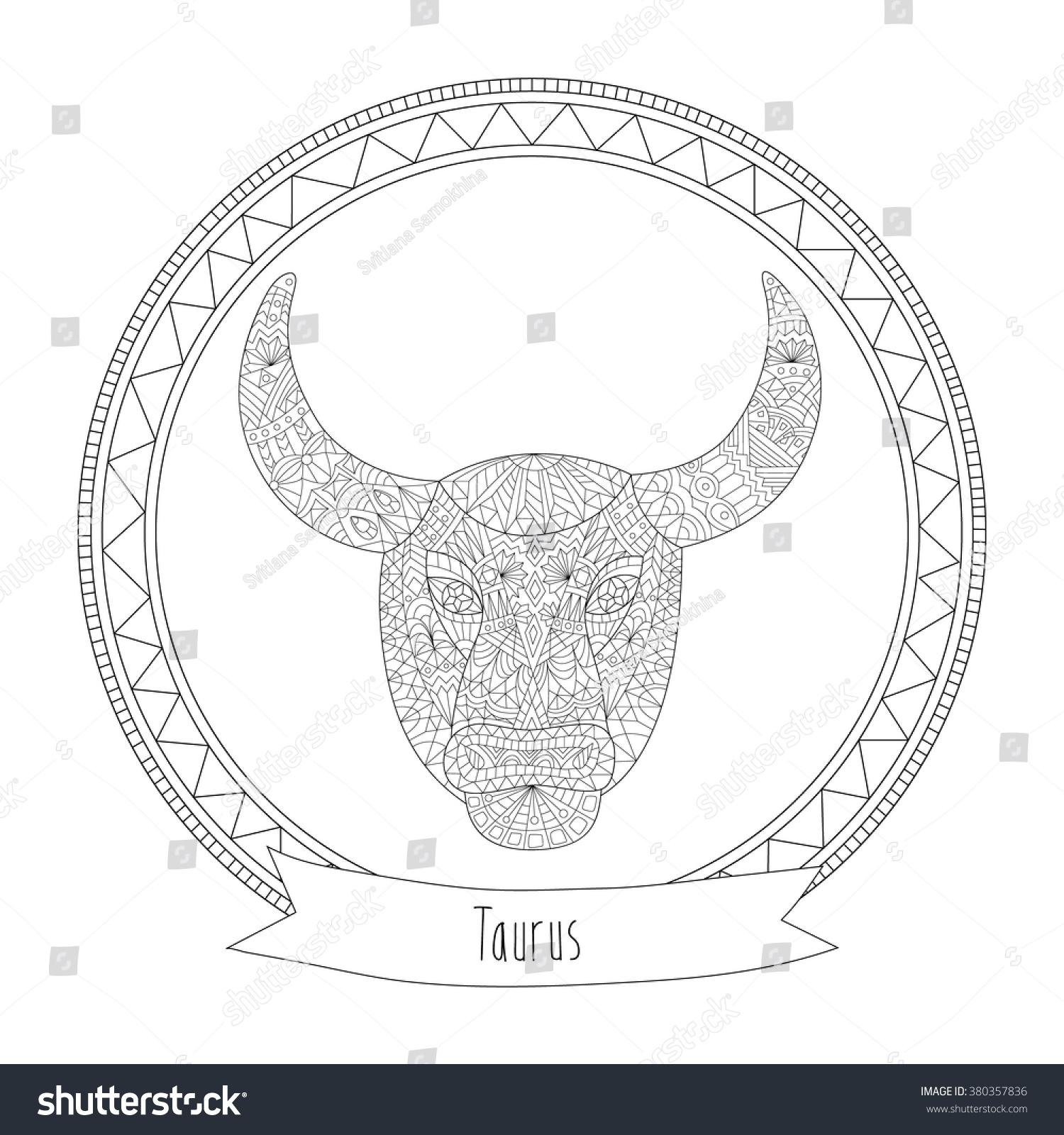 Handdrawn Zodiac Taurus Ethnic Floral Geometric Stock Vector