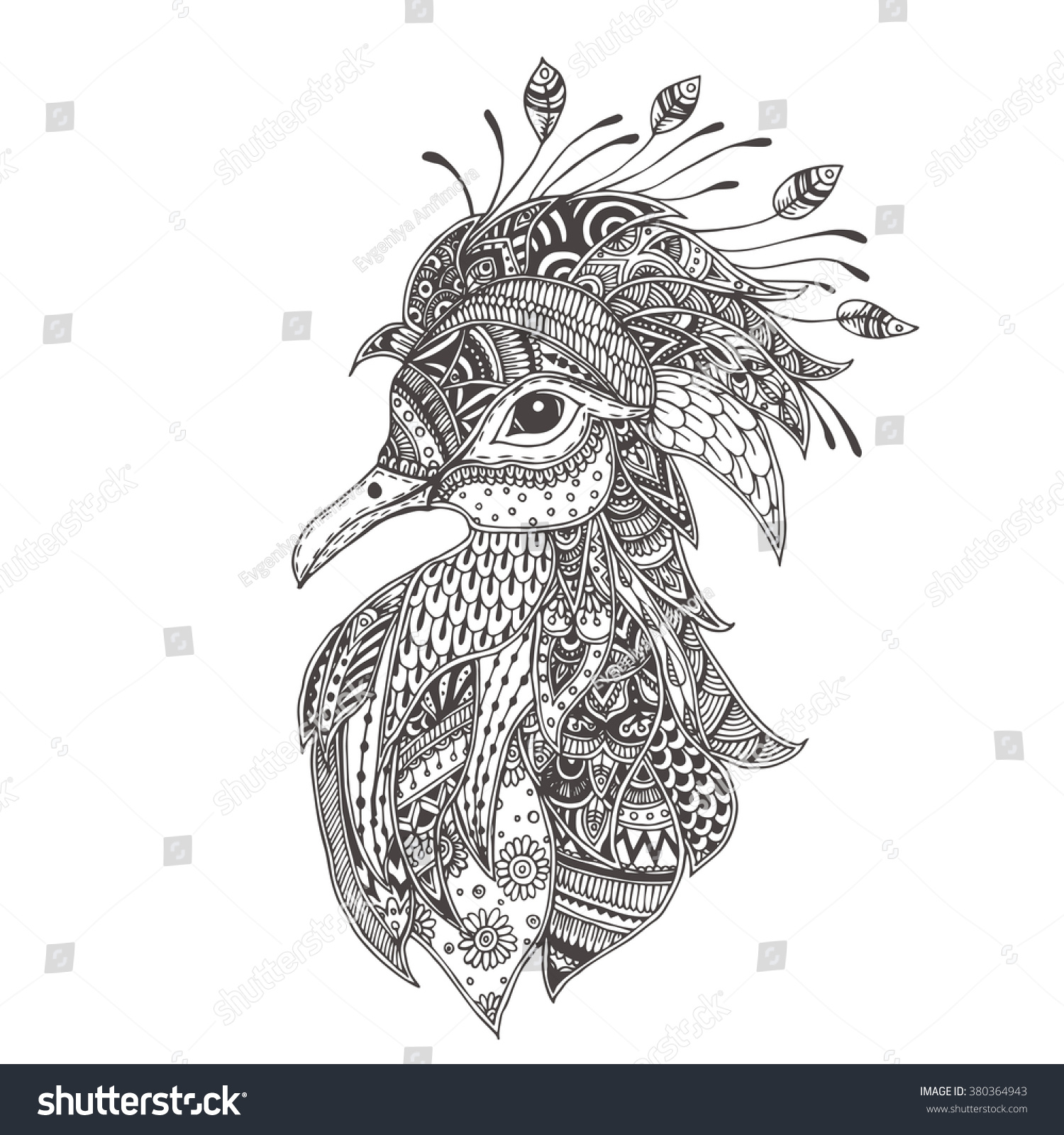 shadoof crowned pigeon ethnic floral doodle stock vector 380364943