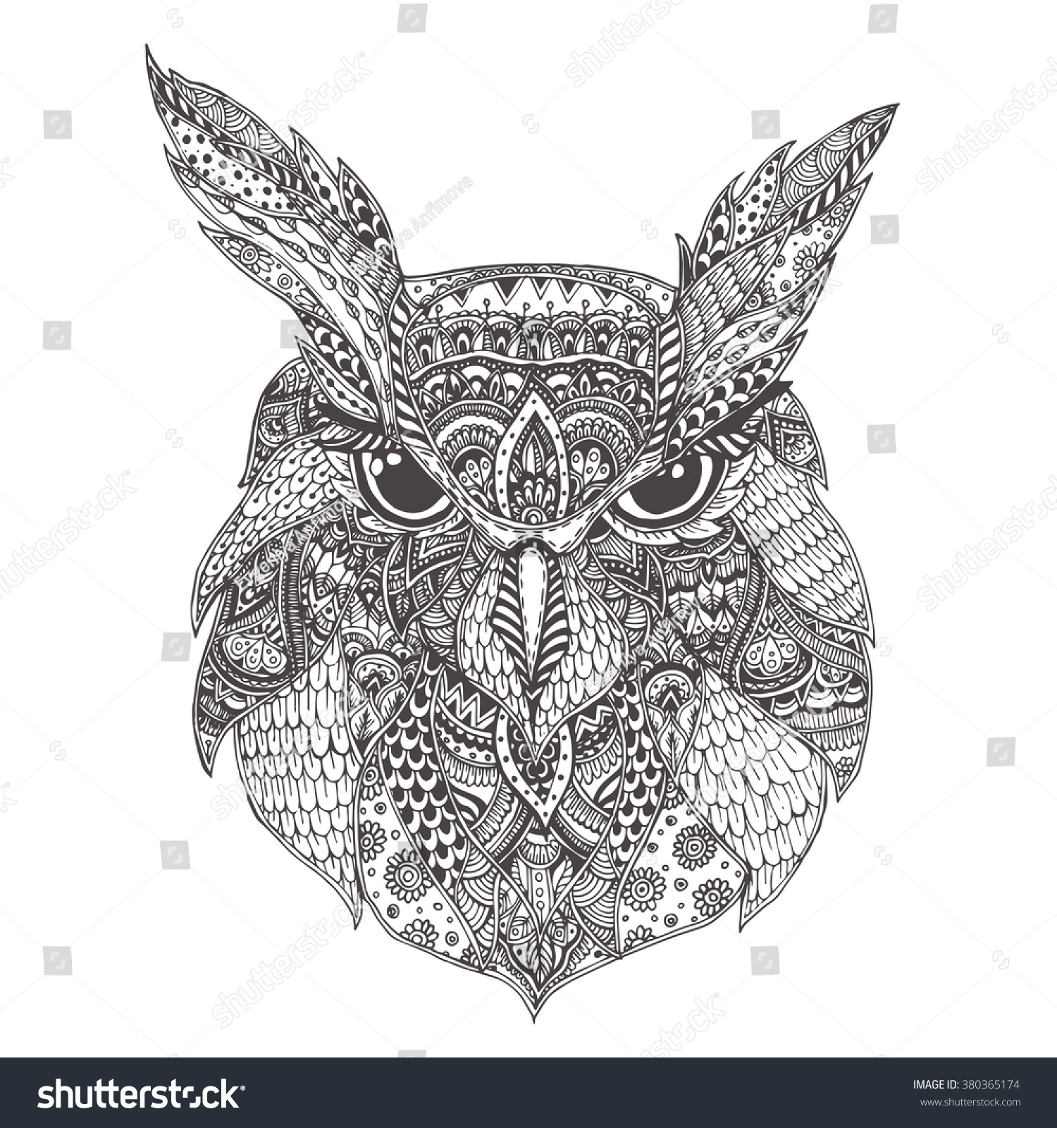 Handdrawn Owl Ethnic Floral Doodle Pattern Stock Vector (Royalty ... | 1600x1500