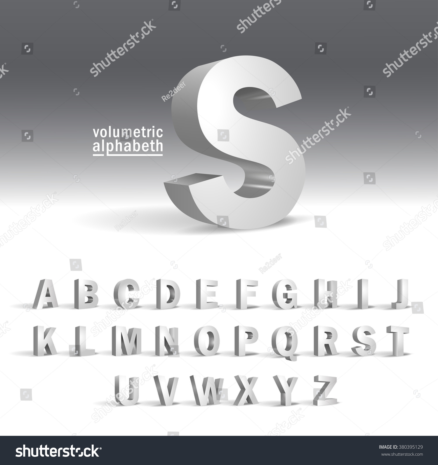 3D Alphabet template.Volumetric alphabet design #380395129