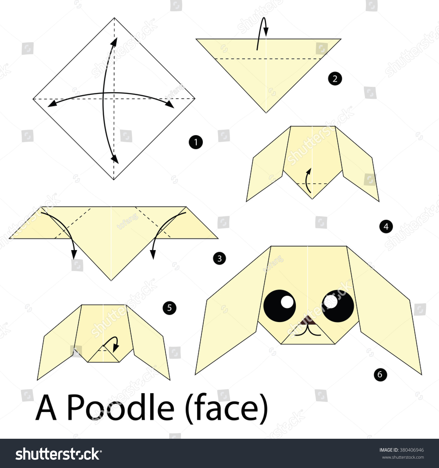 Step by step instructions how make stock vector 380406946 step by step instructions how to make origami dog jeuxipadfo Image collections