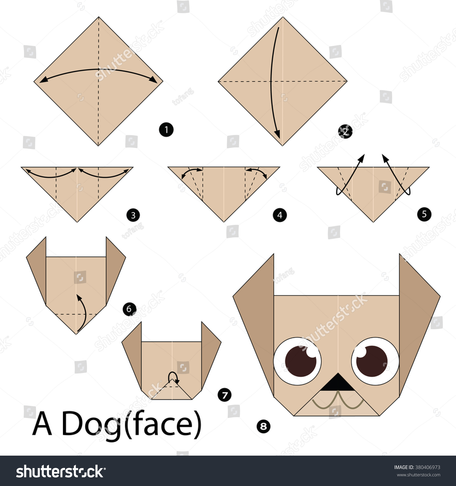 Step by step instructions how make stock vector 380406973 step by step instructions how to make origami dog jeuxipadfo Image collections