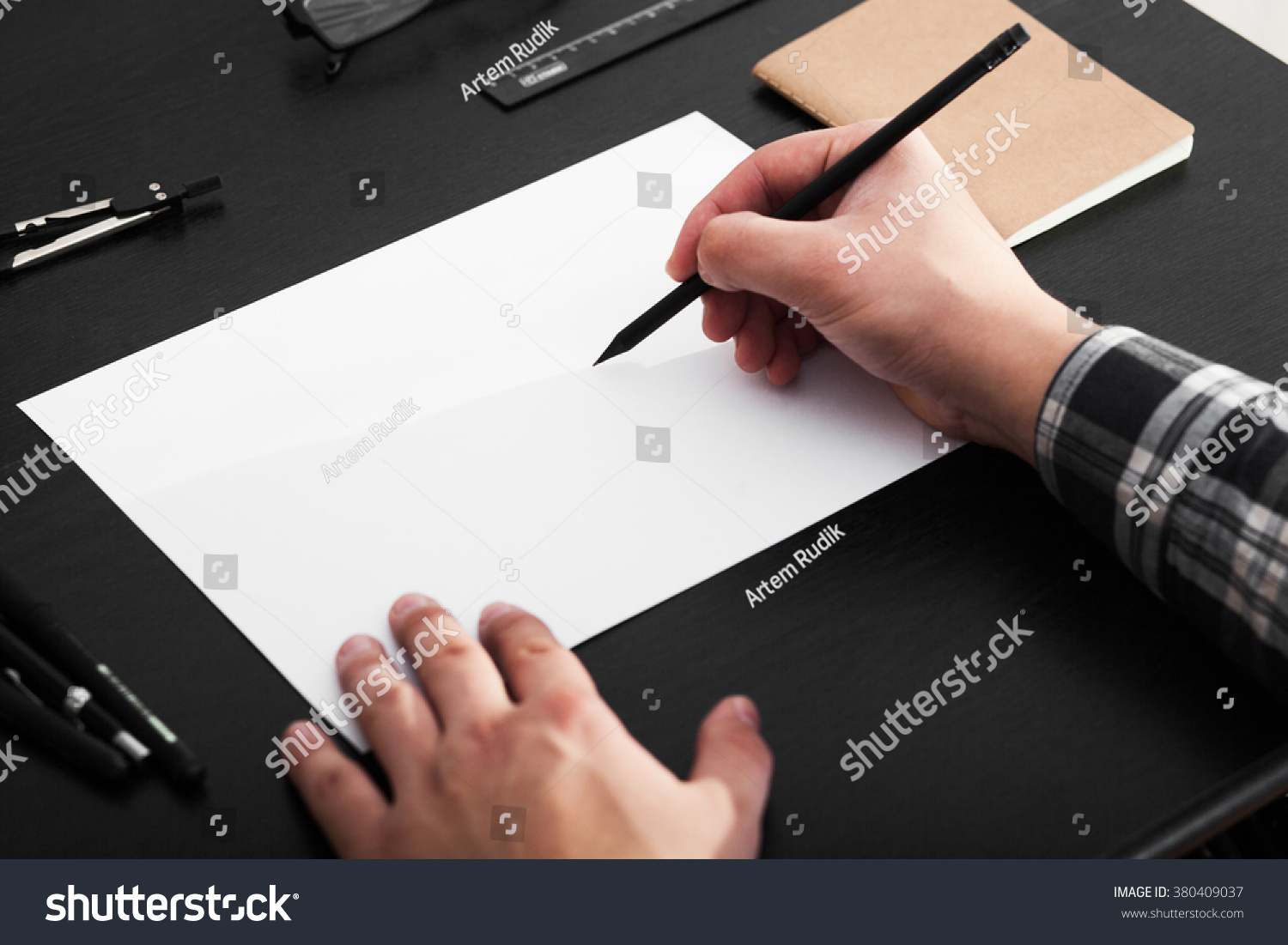 Superb img of Artist Drawing On A4 Paper Black Stock Photo 380409037 Shutterstock with #9A5C31 color and 1500x1101 pixels