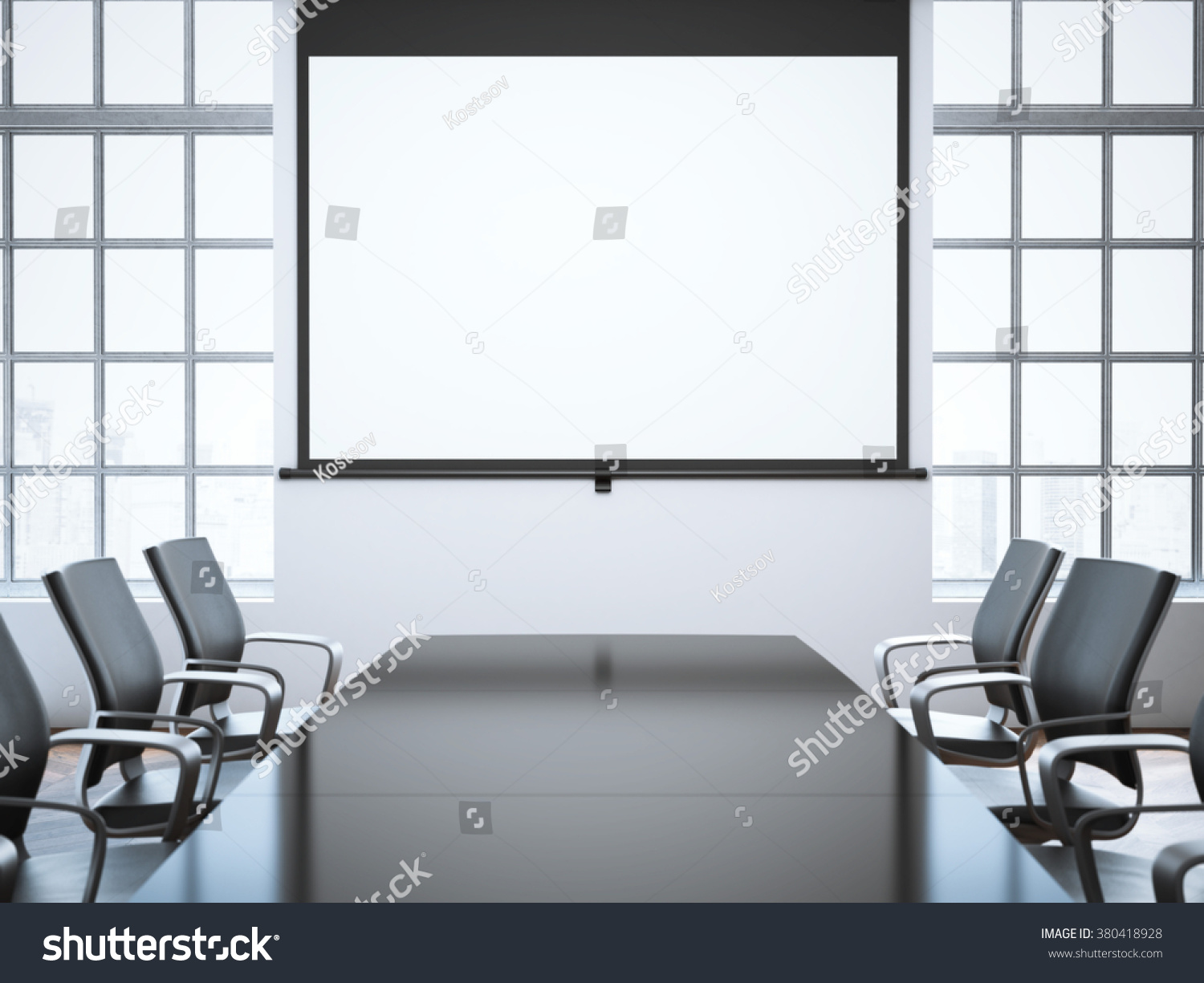 Modern Office Room Projector Screen 3 D Stock Illustration 380418928 ...