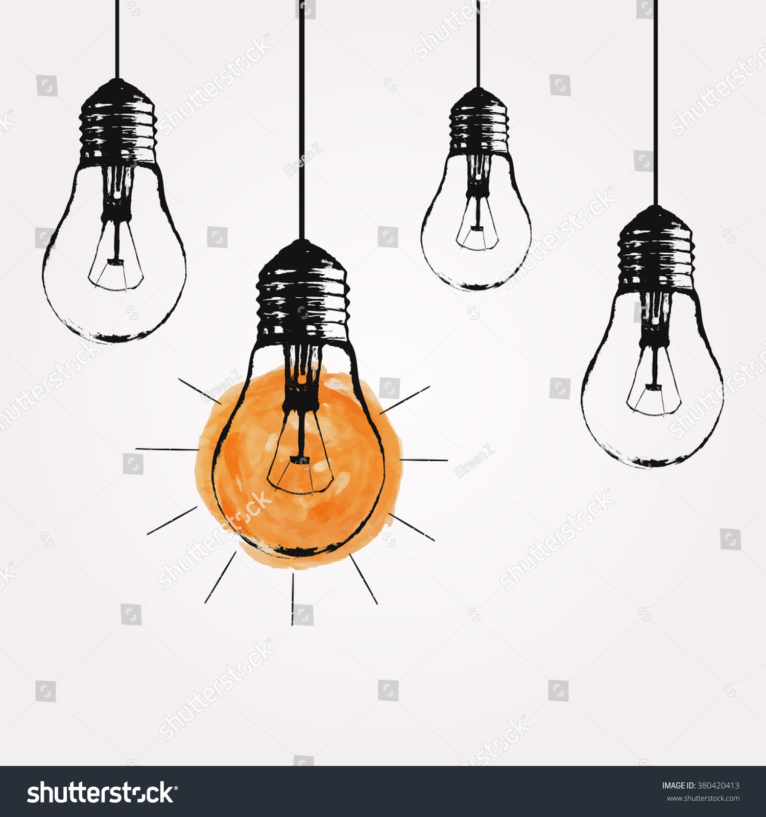 Vector Grunge Illustration Hanging Light Bulbs Stock Vector
