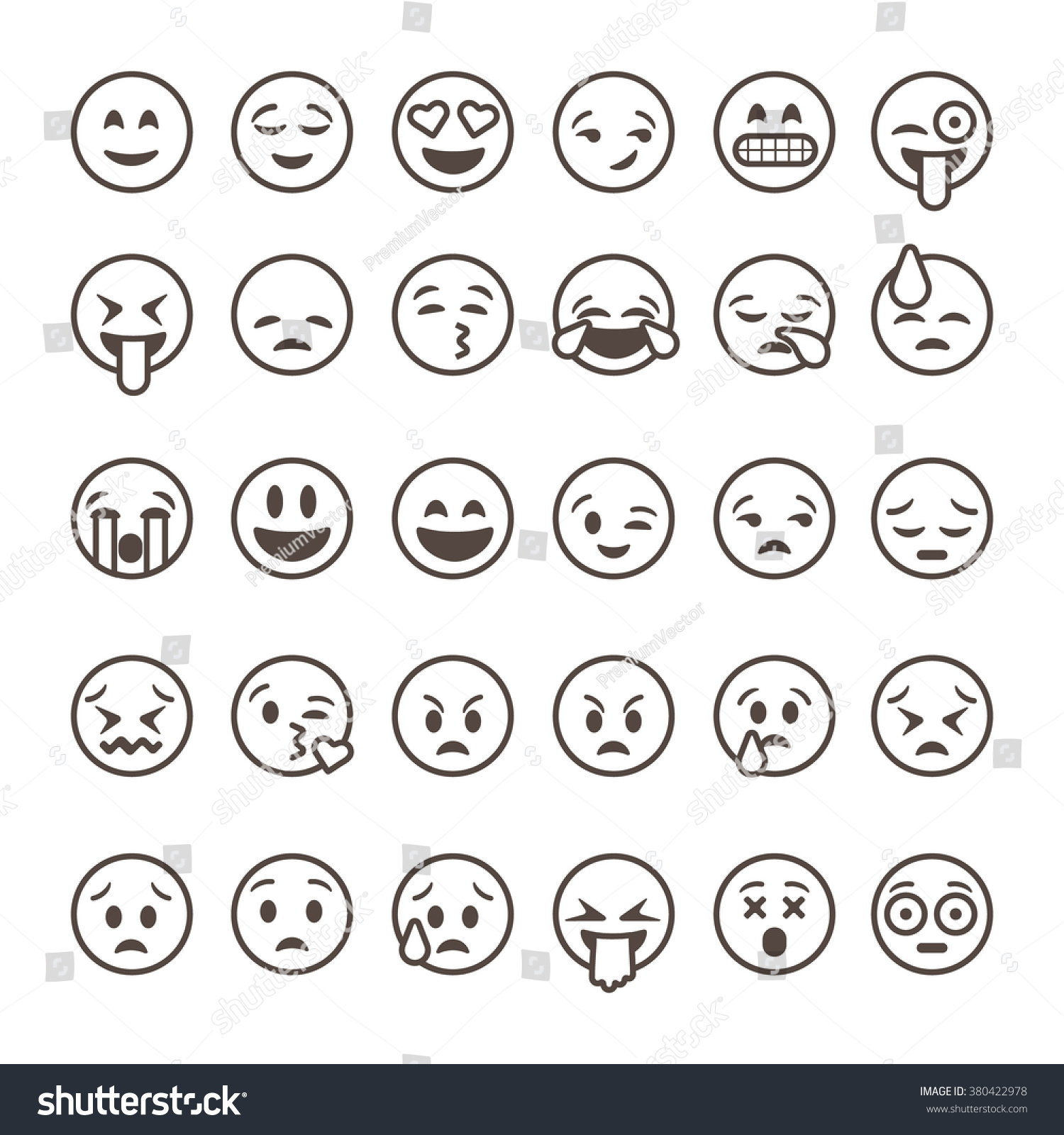 Line Drawing Emoji : Set outline emoticons emoji isolated on stock vector