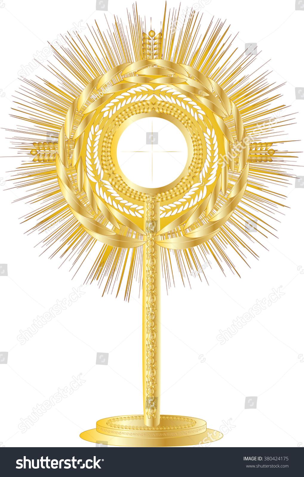 Golden Monstrance Eucharistic Adoration Blessed Sacrament Stock ...