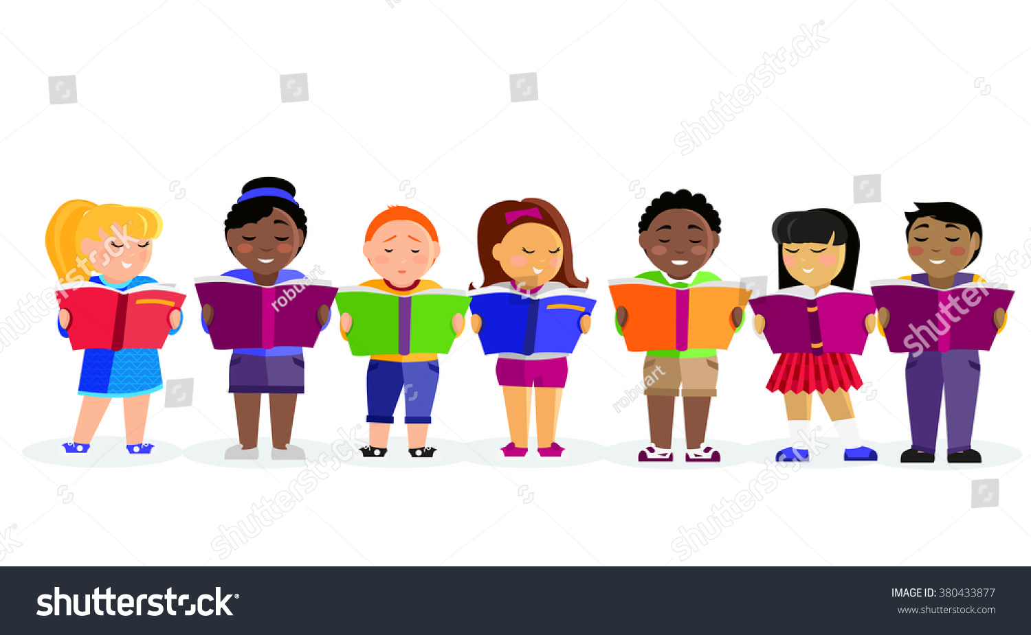 group kids studying learning together boys stock vector (royalty