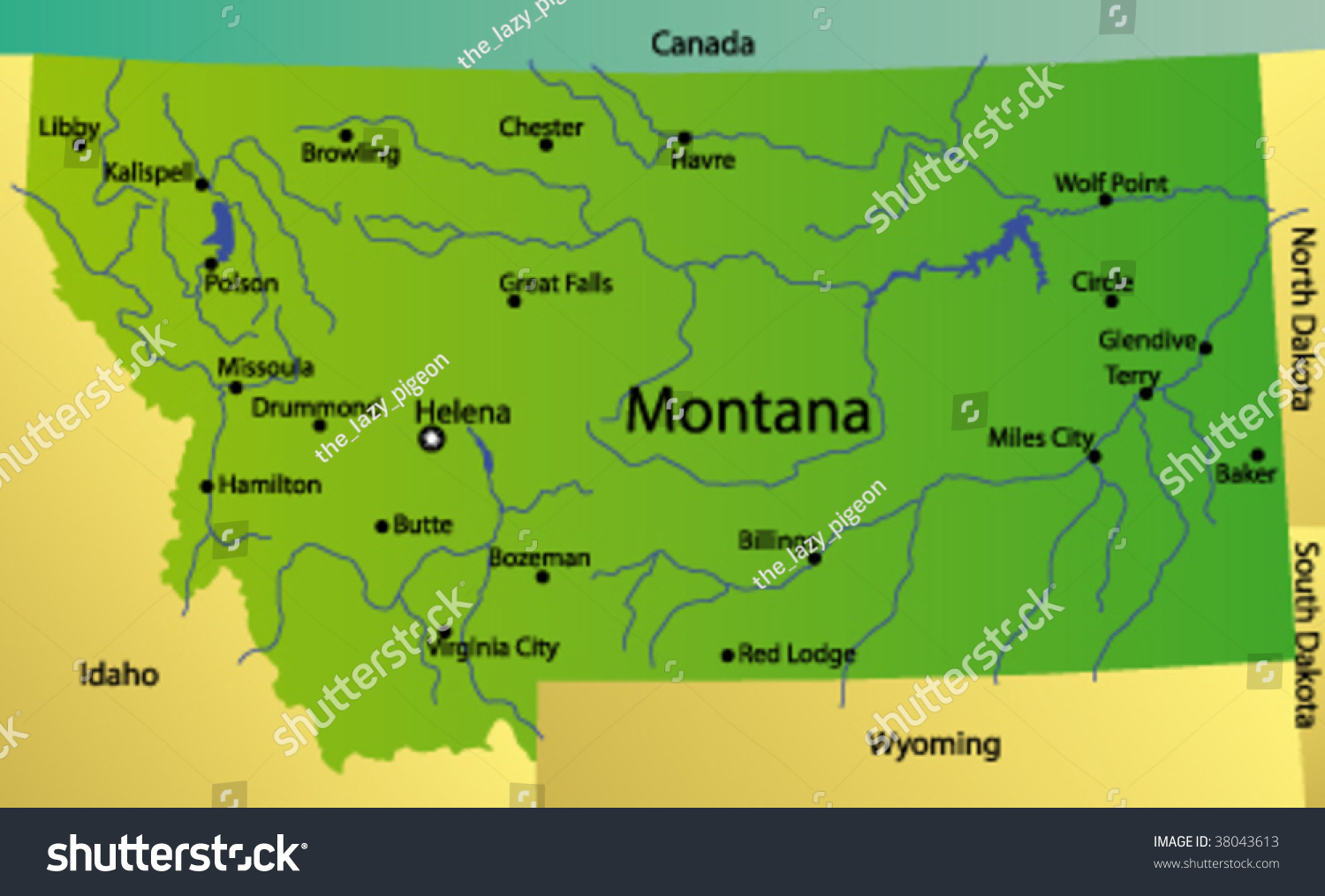 Detaild Vector Map Montana State Usa Stock Vector - Montana state map