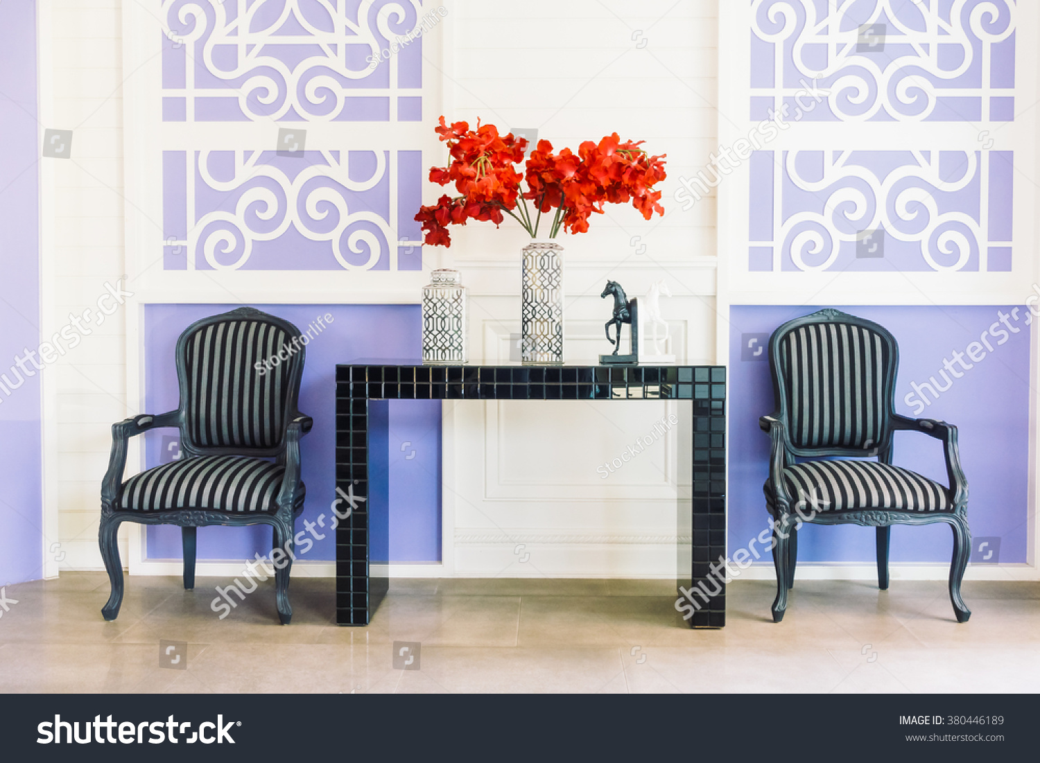 Empty chair in room - Beautiful Vase Flower And Empty Chair Decoration Interior Of Livingroom Vintage Film Filter