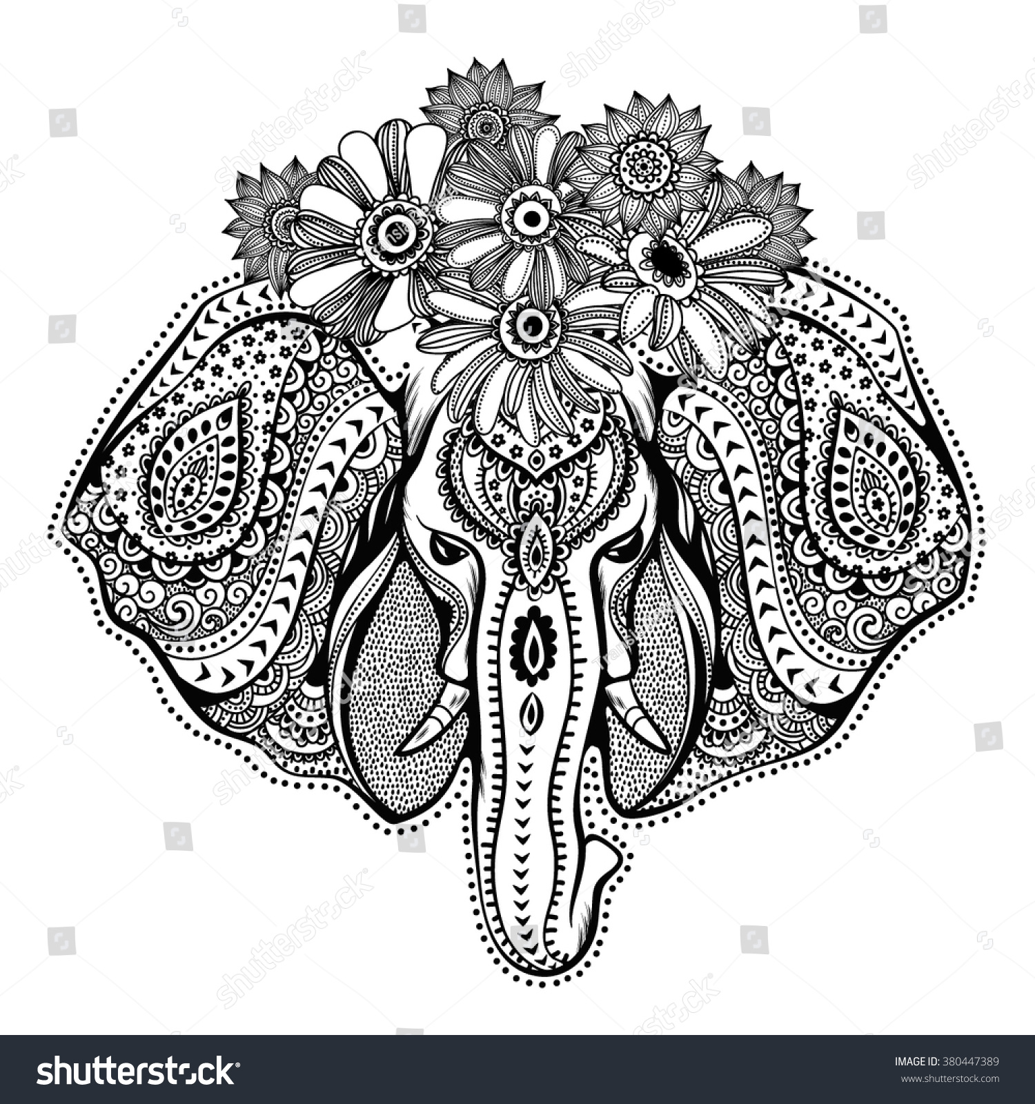 vintage graphic vector indian lotus ethnic stock vector 380447389