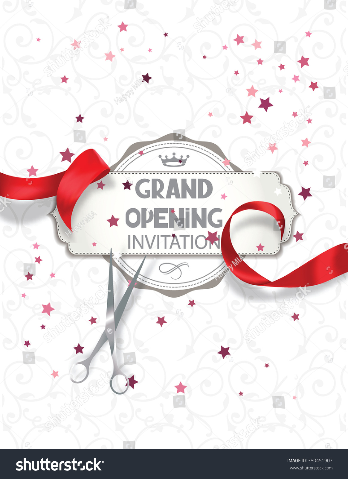 Grand opening invitation card red silk stock vector hd royalty free grand opening invitation card with red silk ribbon and scissors stopboris Image collections