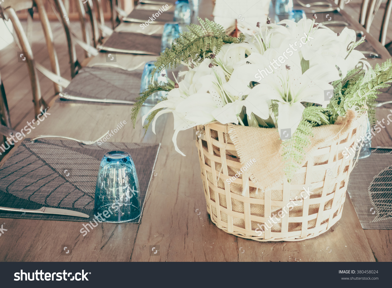 White Flower In Vase Decoration On Dining Table Vintage Filter Stock Photo