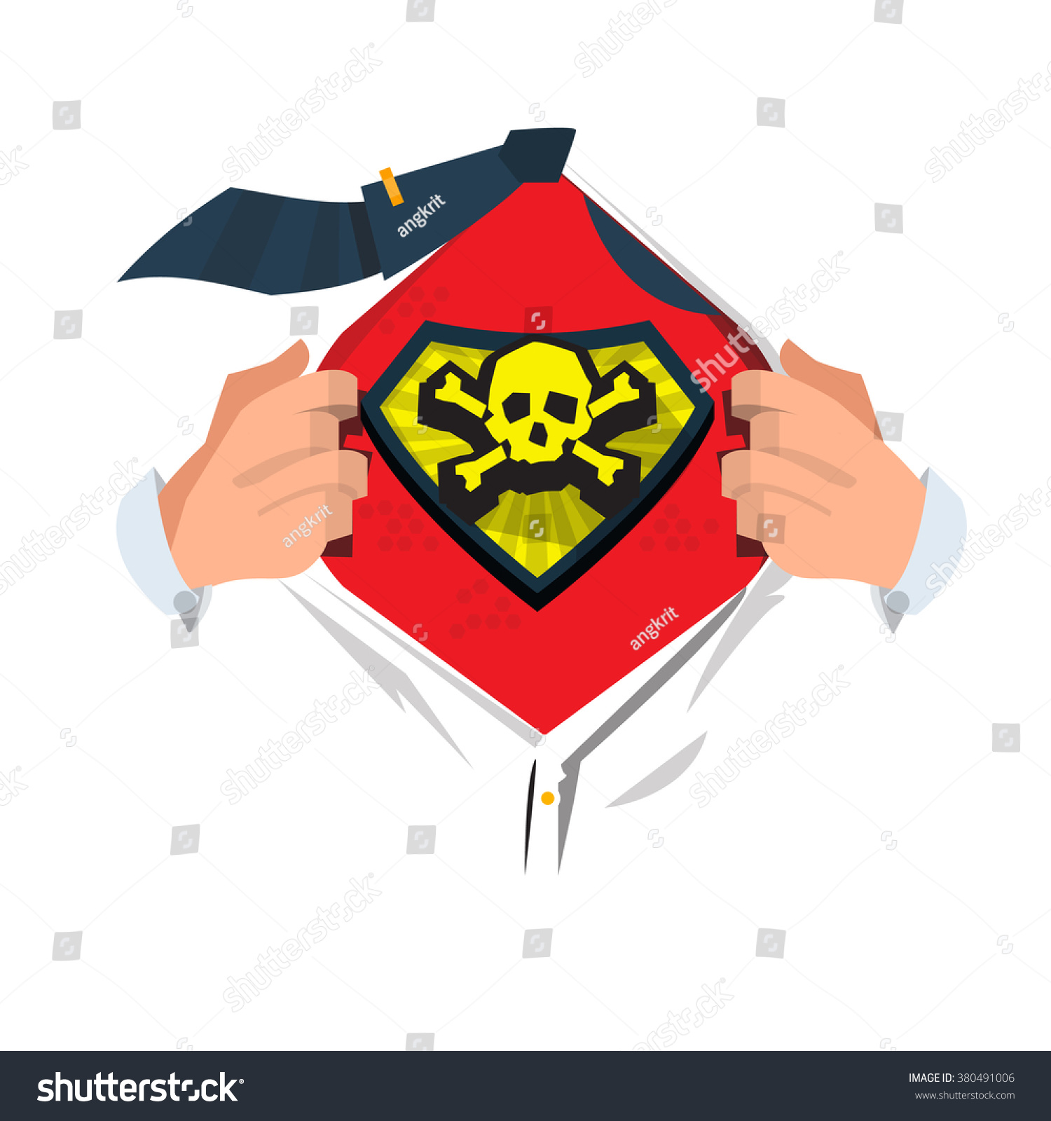Man Open Shirt Show Skull Bone Stock Vector 380491006 Shutterstock