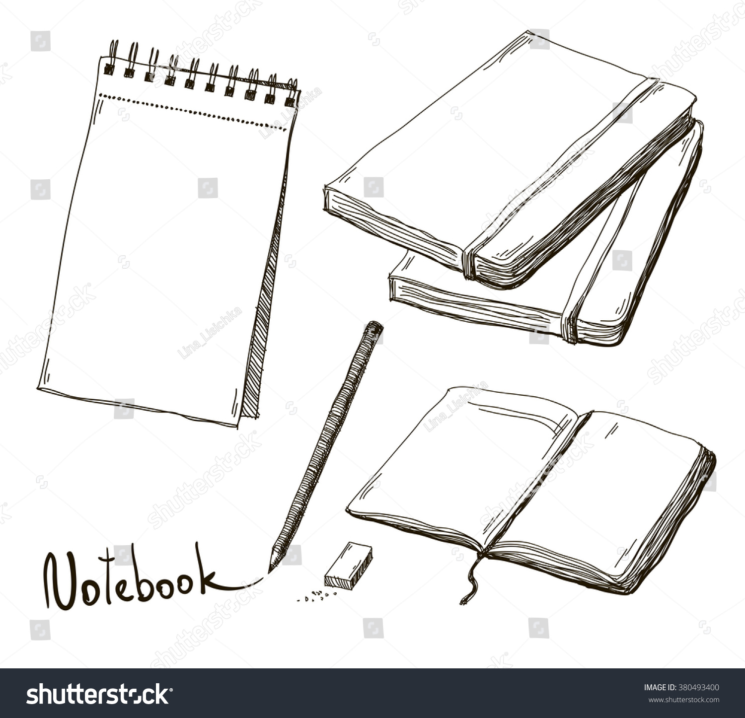 Sketch of notebooks with pencil and eraser vector
