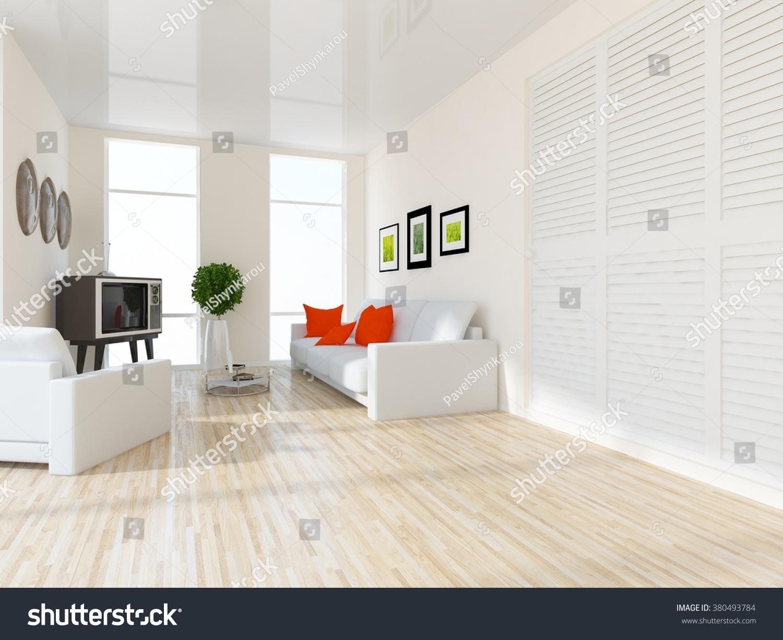 White Living Room Wardrobe 3 D Illustration Stock Illustration ...