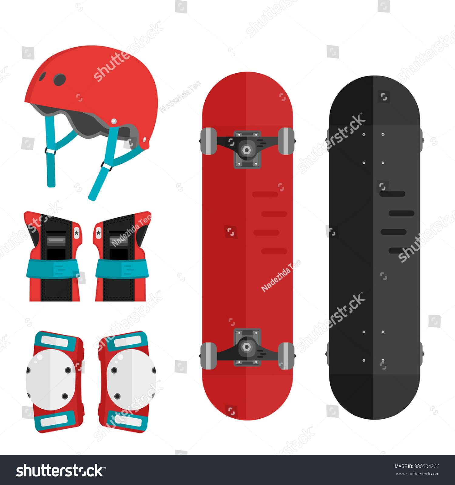 Vector Set Roller Skating Skateboarding Protective Stock Vector Royalty Free 380504206