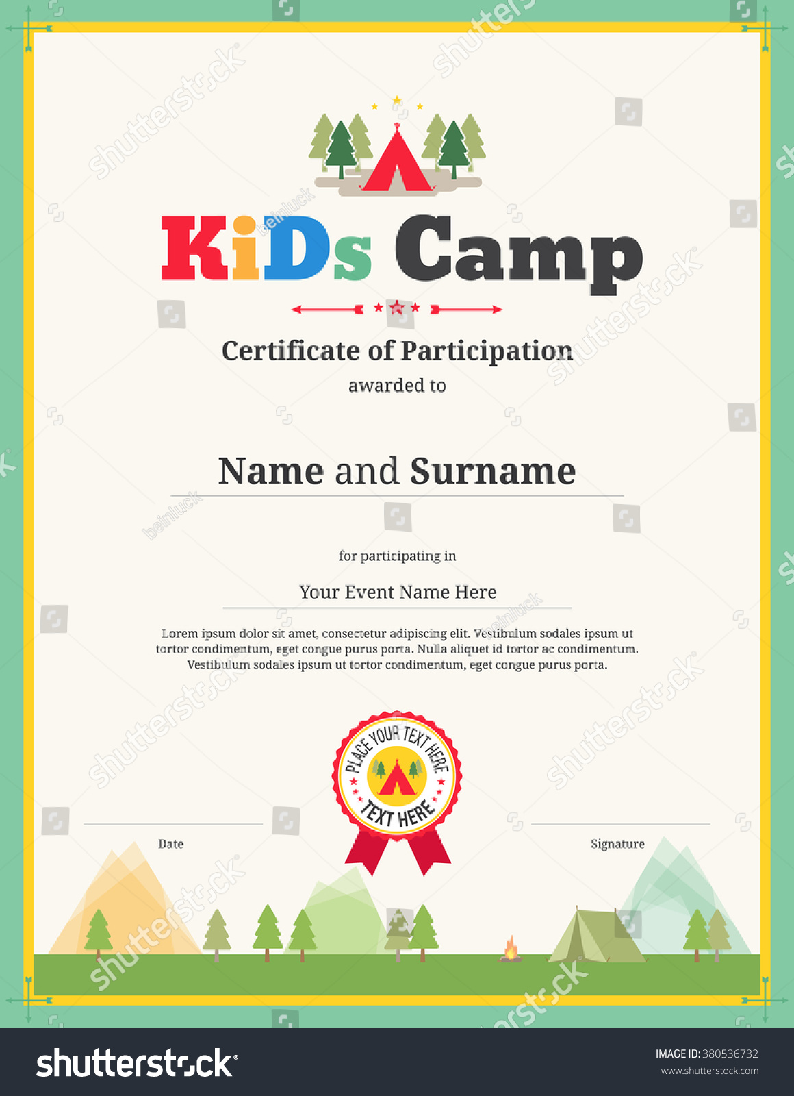 colorful kids certificate template in portrait for children events or