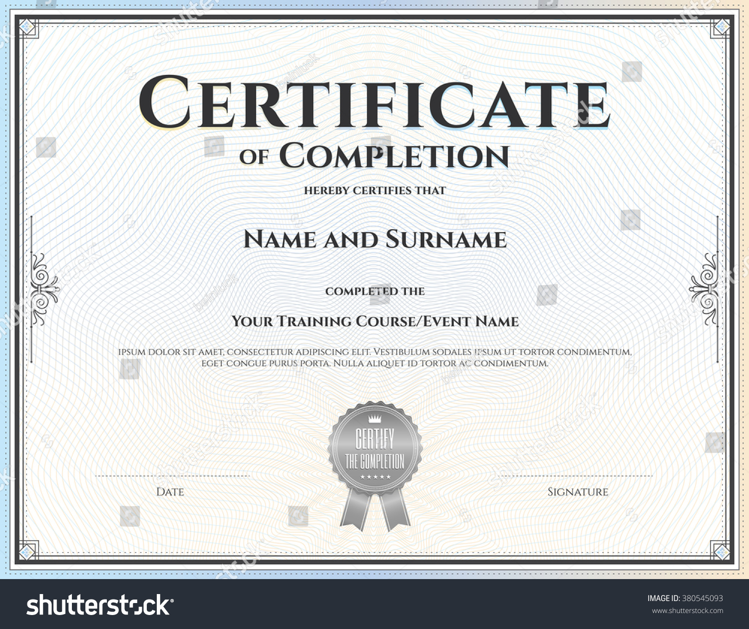 Sample of certificate of completion word cover page template free doc22001653 sample certificate of completion free agenda template word stock vector certificate of completion template in yadclub Image collections