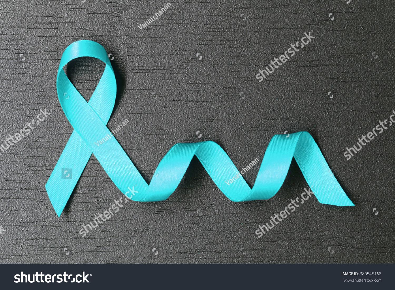 Teal Ribbon Ovarian Cancer Awareness Healthcare Stock Photo Image