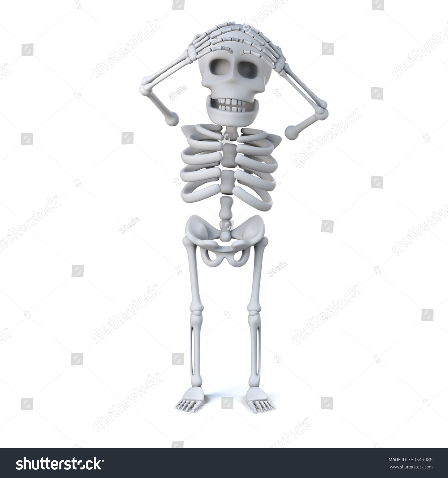 3 D Render Skeleton His Hands On Stock Illustration 380549086 ...