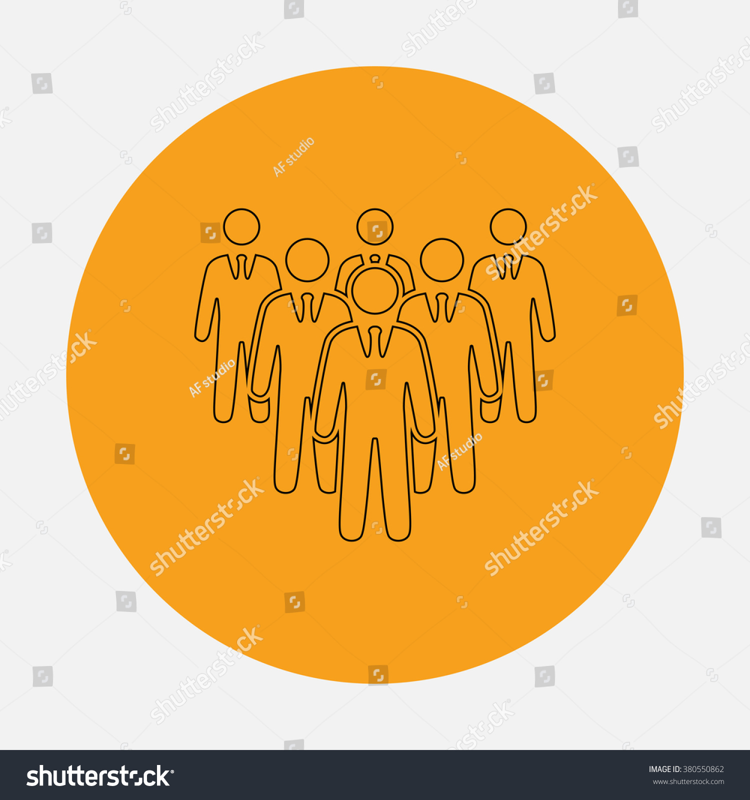 Team Outline Vector Icon On Orange Stock Vector 380550862 Shutterstock