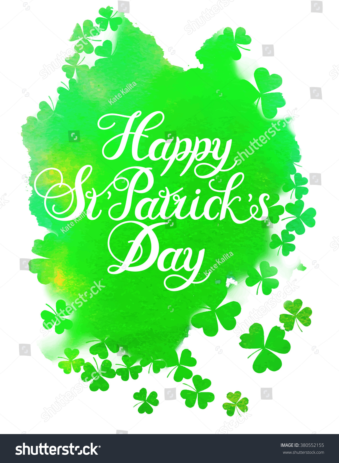 St Patricks Day Greeting Green Watercolor Isolated Stock Vector