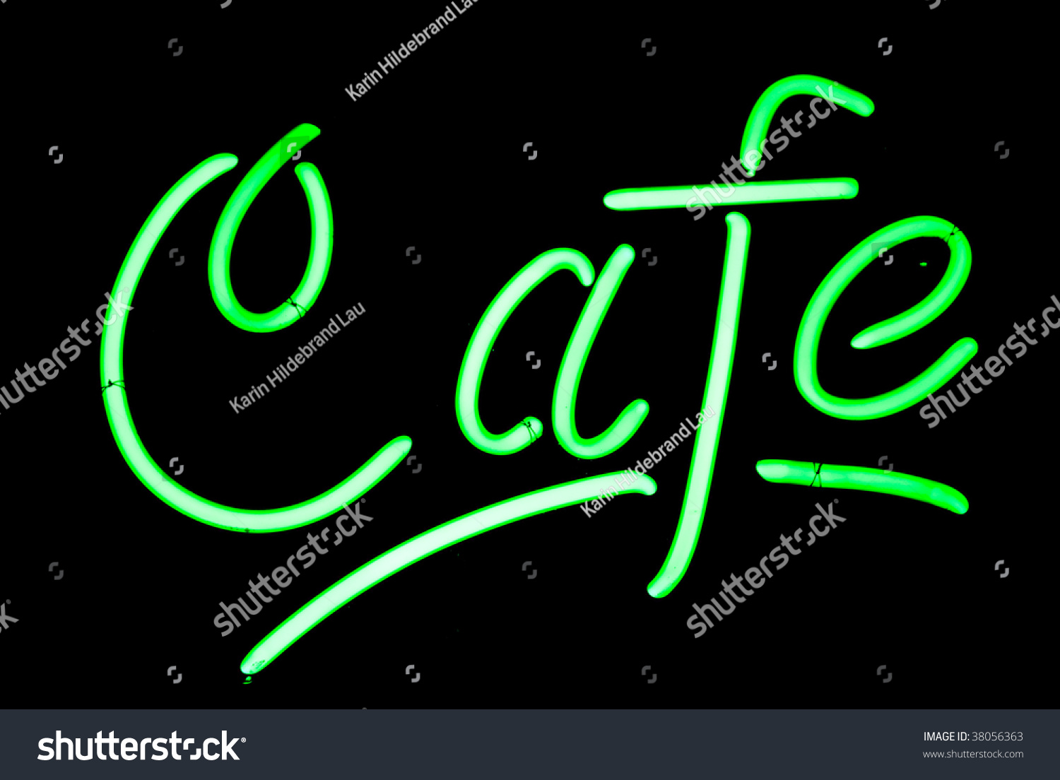 Green Cafe Neon Sign Isolated On Stock Photo 38056363