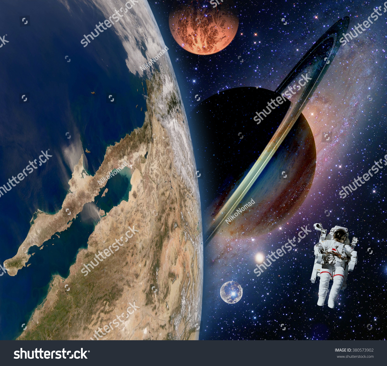 Astronaut spaceman mars saturn planet spacewalk stock for Outer space elements