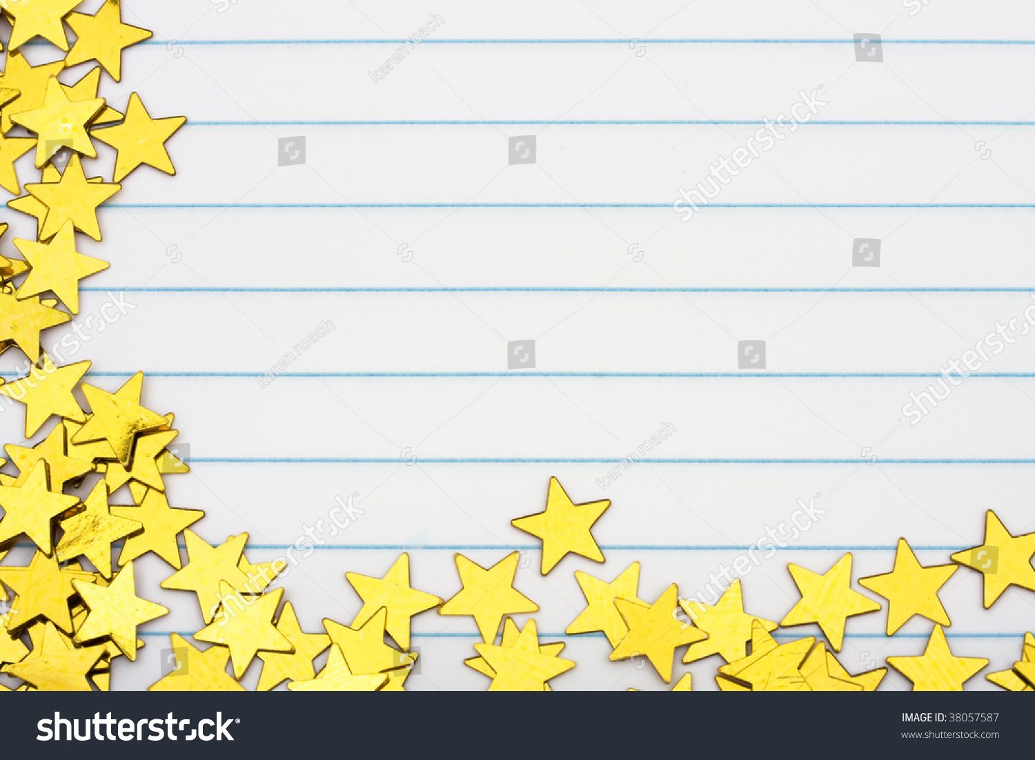 Gold Stars Making Border On Lined Photo 38057587 Shutterstock – Lined Border Paper