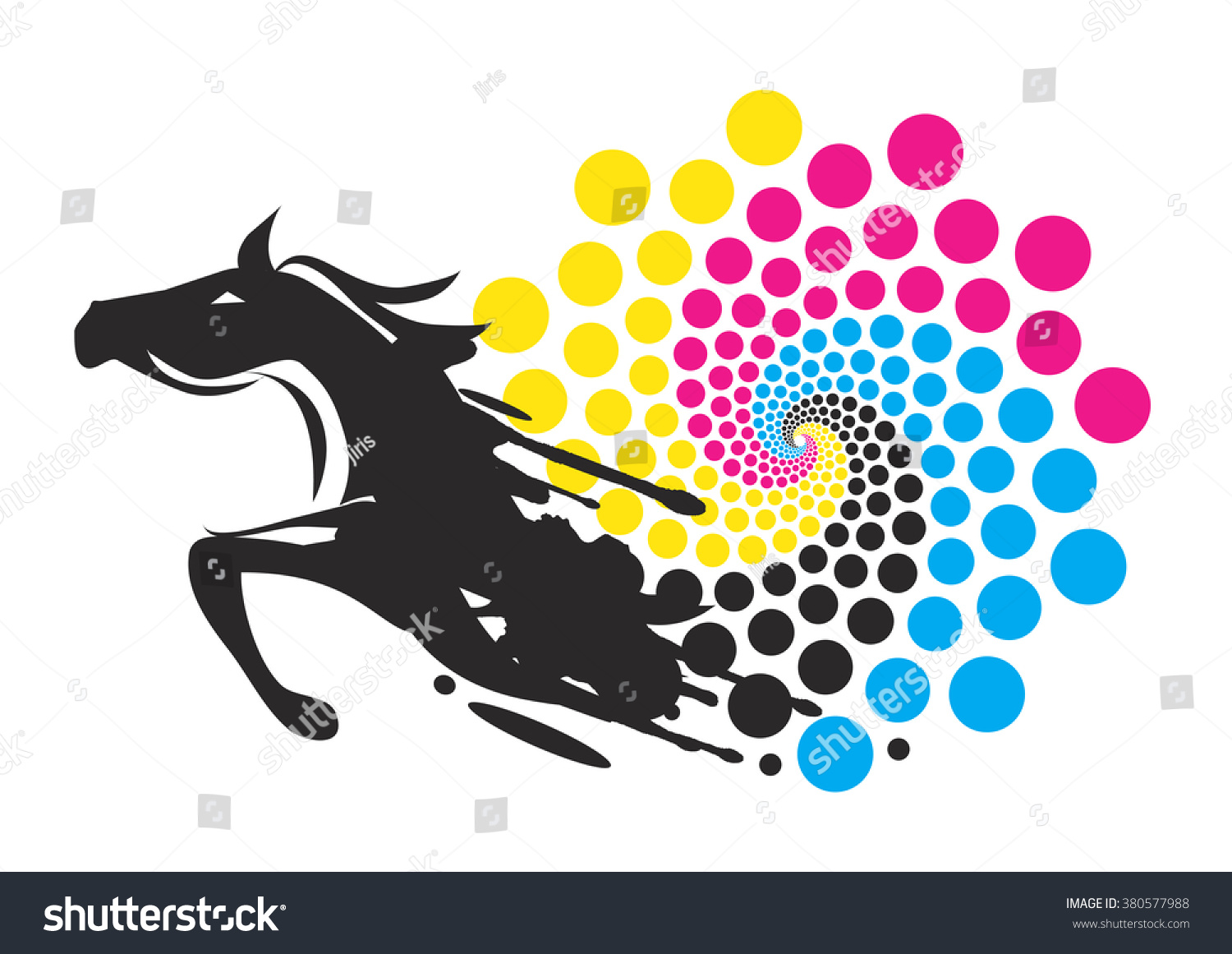 horse with print colors circle black running horse with the circle of the print colors - Horse Pictures Print Color