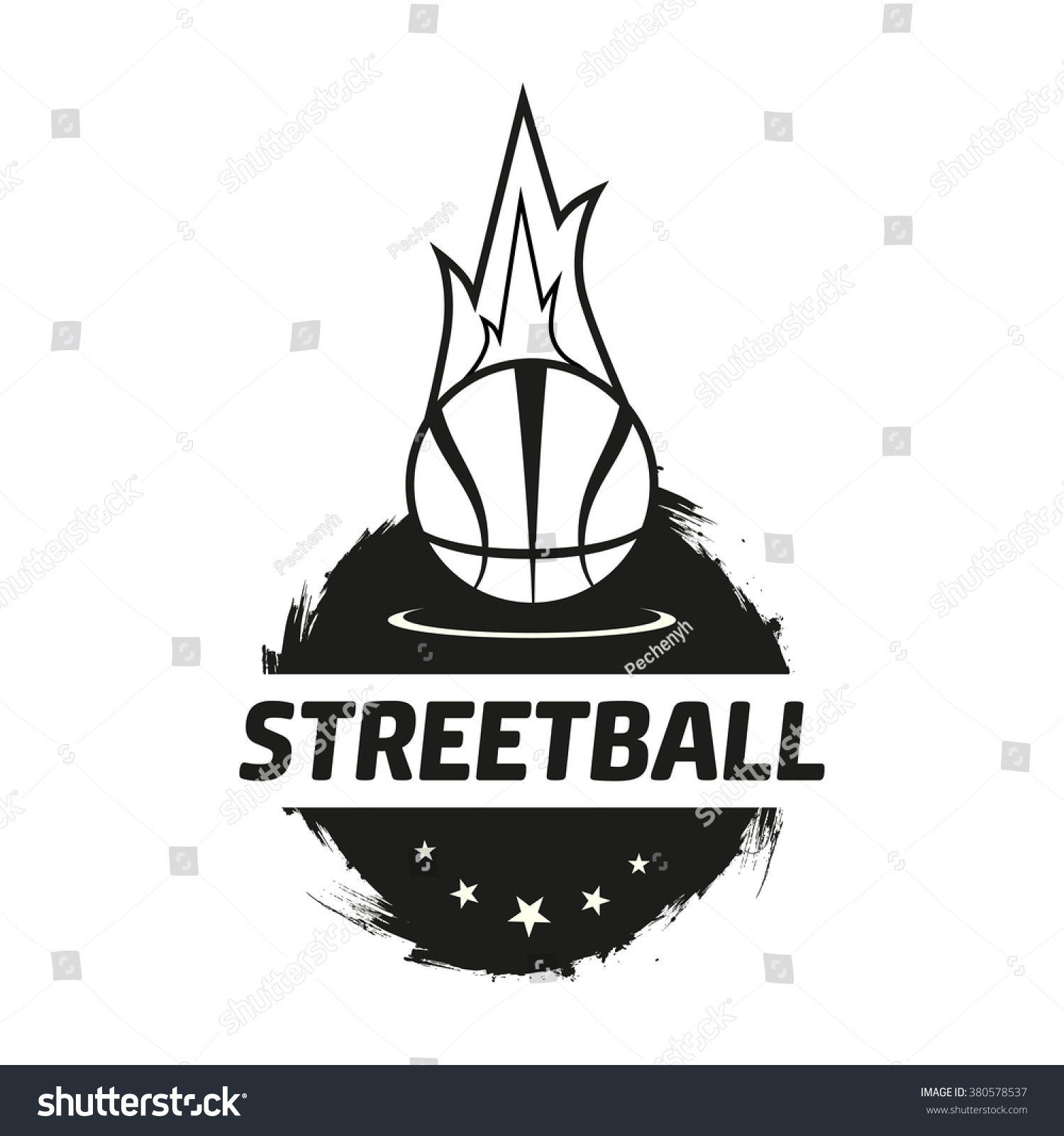 Streetball Icon Logo Set Street Basketball Stock Vector ...