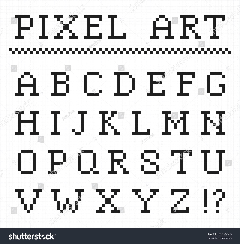Pixel Font Vector Set Pixel Letters Stock Vector 380584585