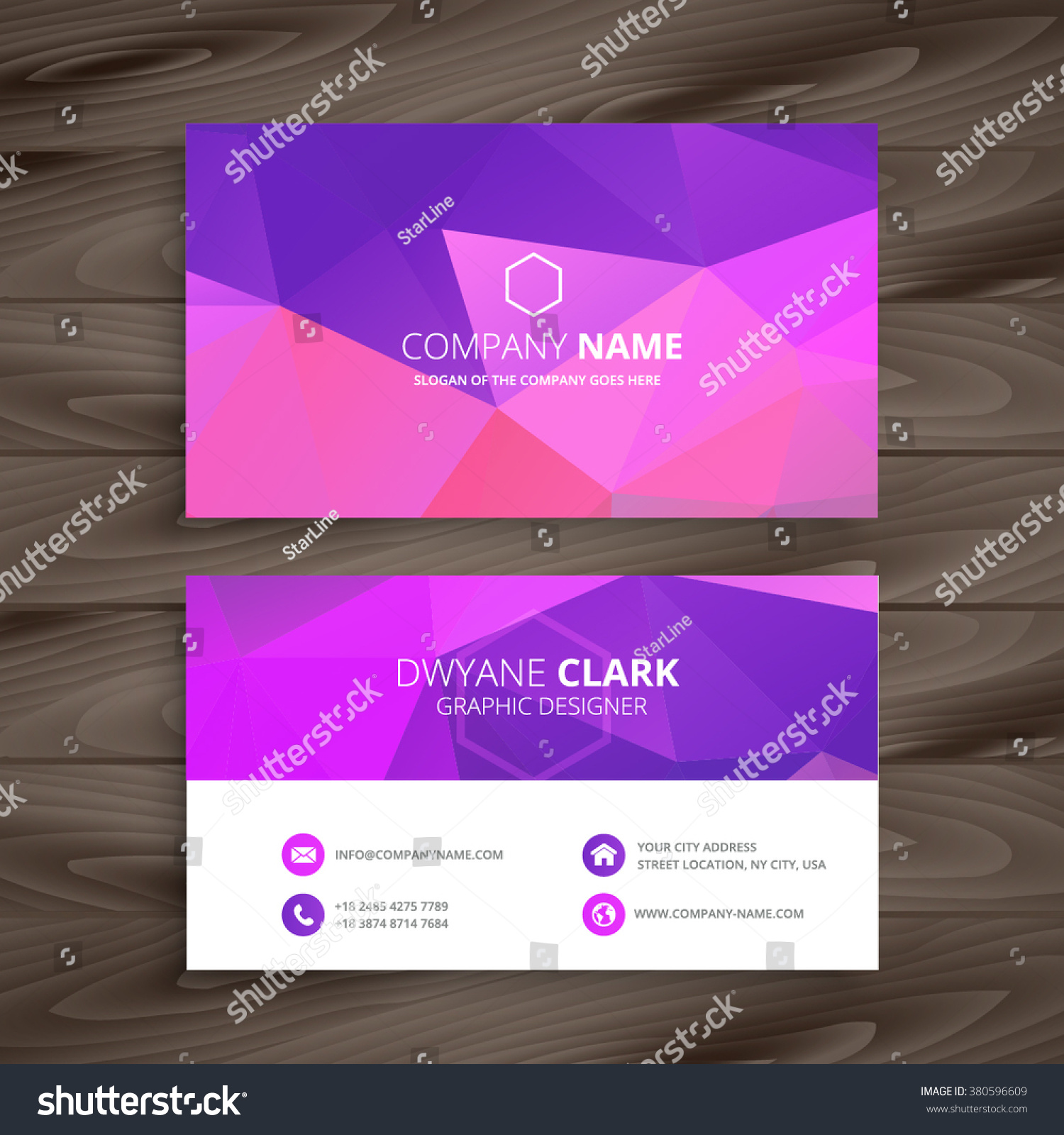 Purple Business Card Abstract Shape Stock Vector 380596609 ...
