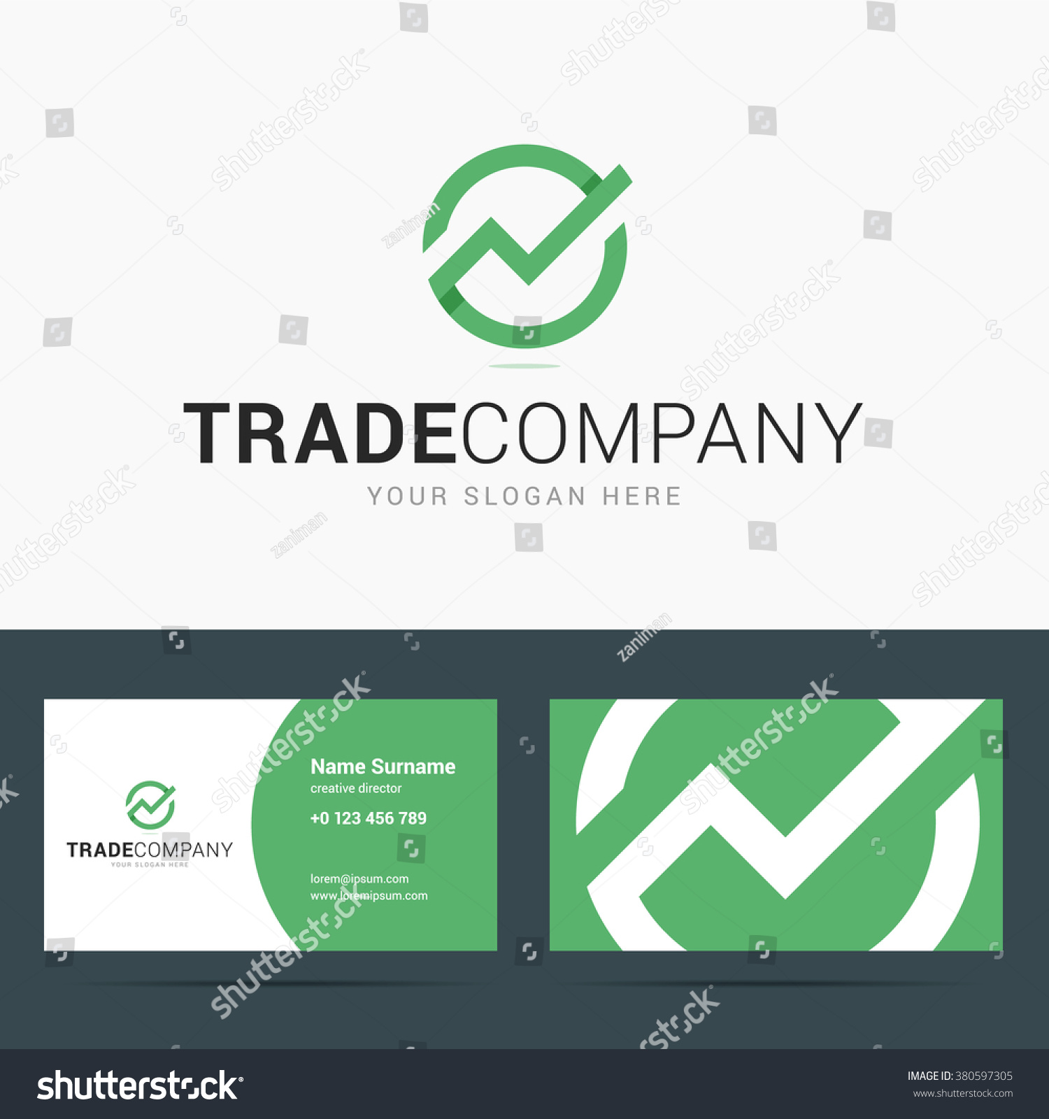Logo business card template trade company stock vector 380597305 logo and business card template for trade company line chart sign trend up logo jeuxipadfo Gallery