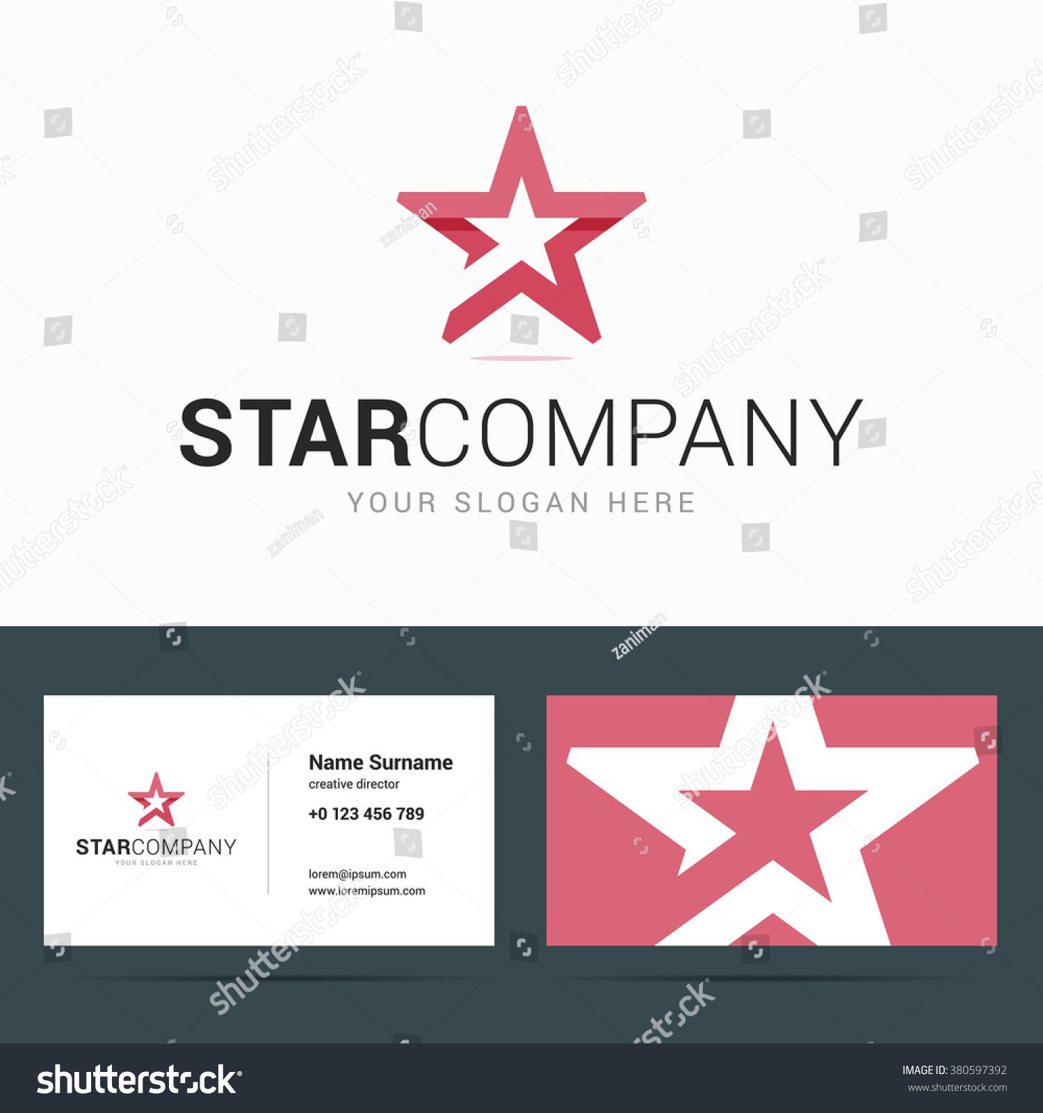 Logo Business Card Template Star Shape Stock Vector 380597392 ...