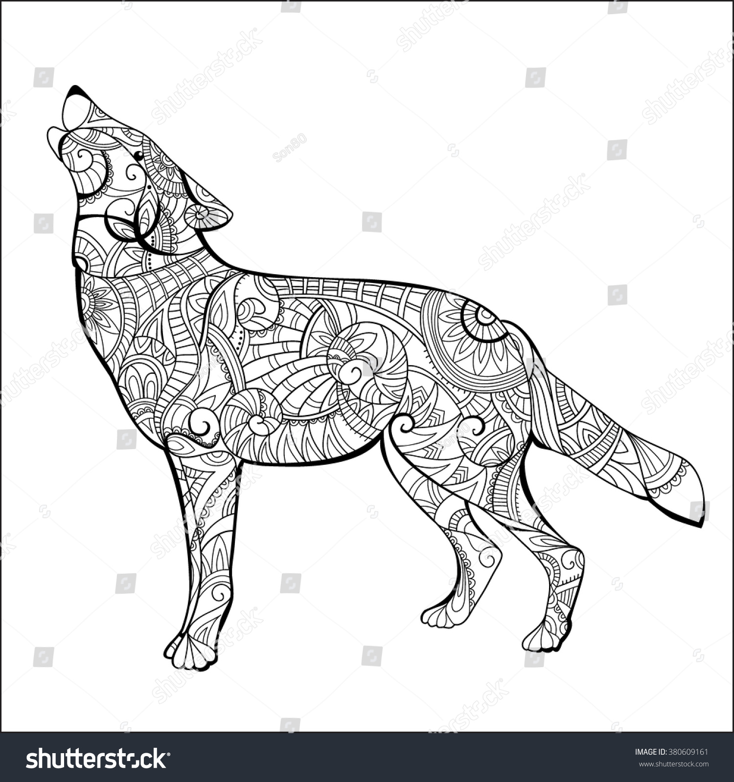 wolf coloring book wolf coloring page stock vector 380609161