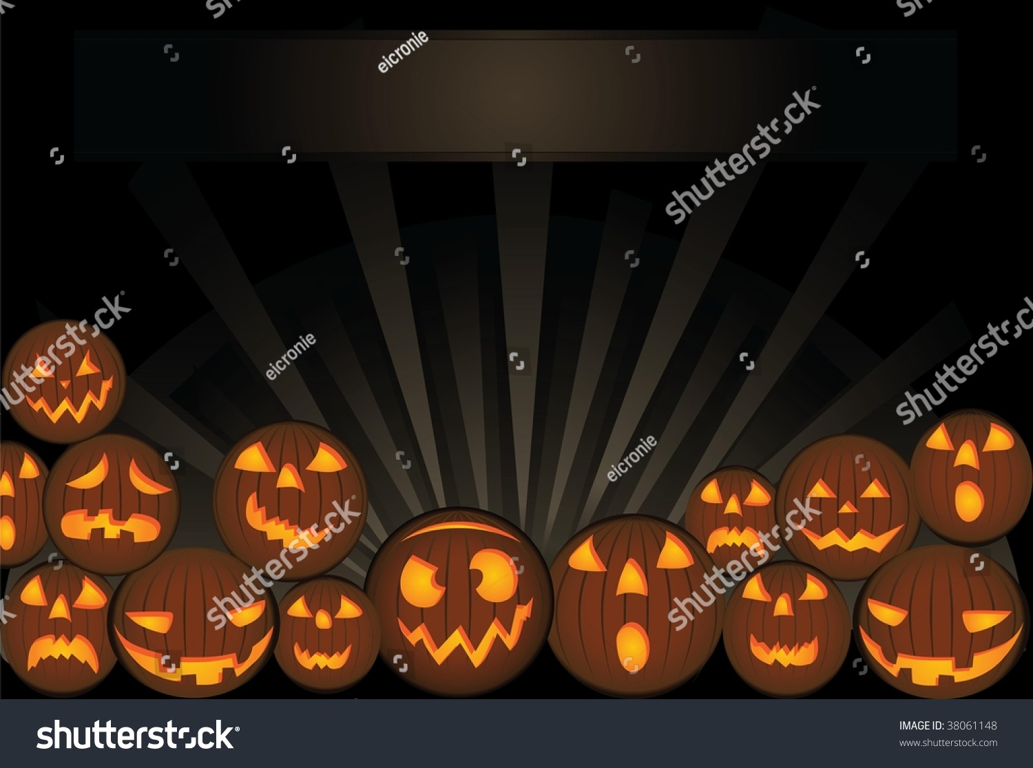 Funny Scary Pumpkins Halloween Card Template Stock Vector 38061148 ...