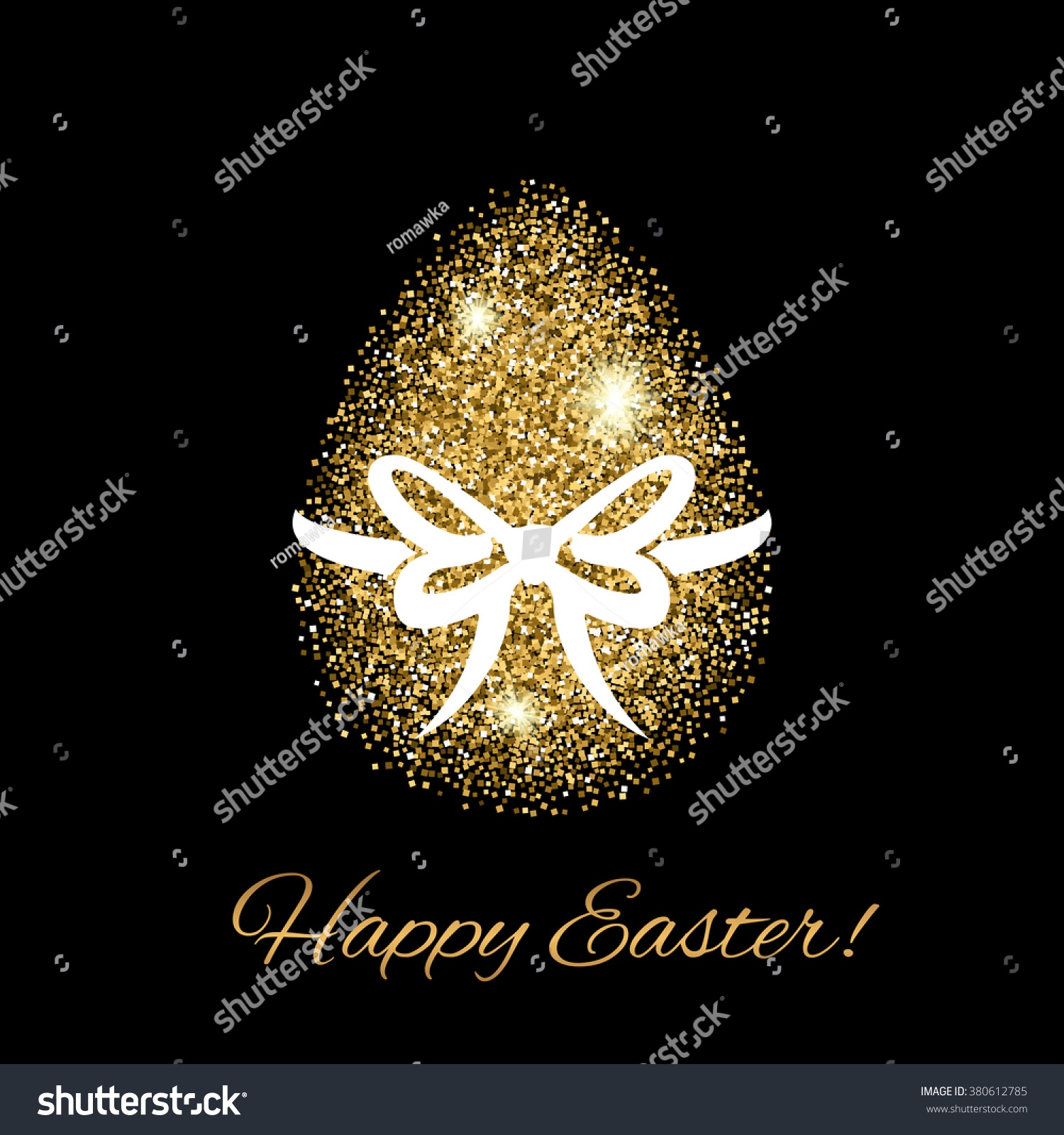 Easter greeting card with gold glitter egg. Easter icon.