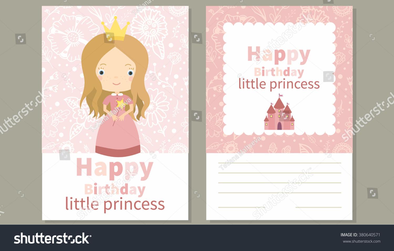 happy birthday little princess birthday card stock vector (royalty