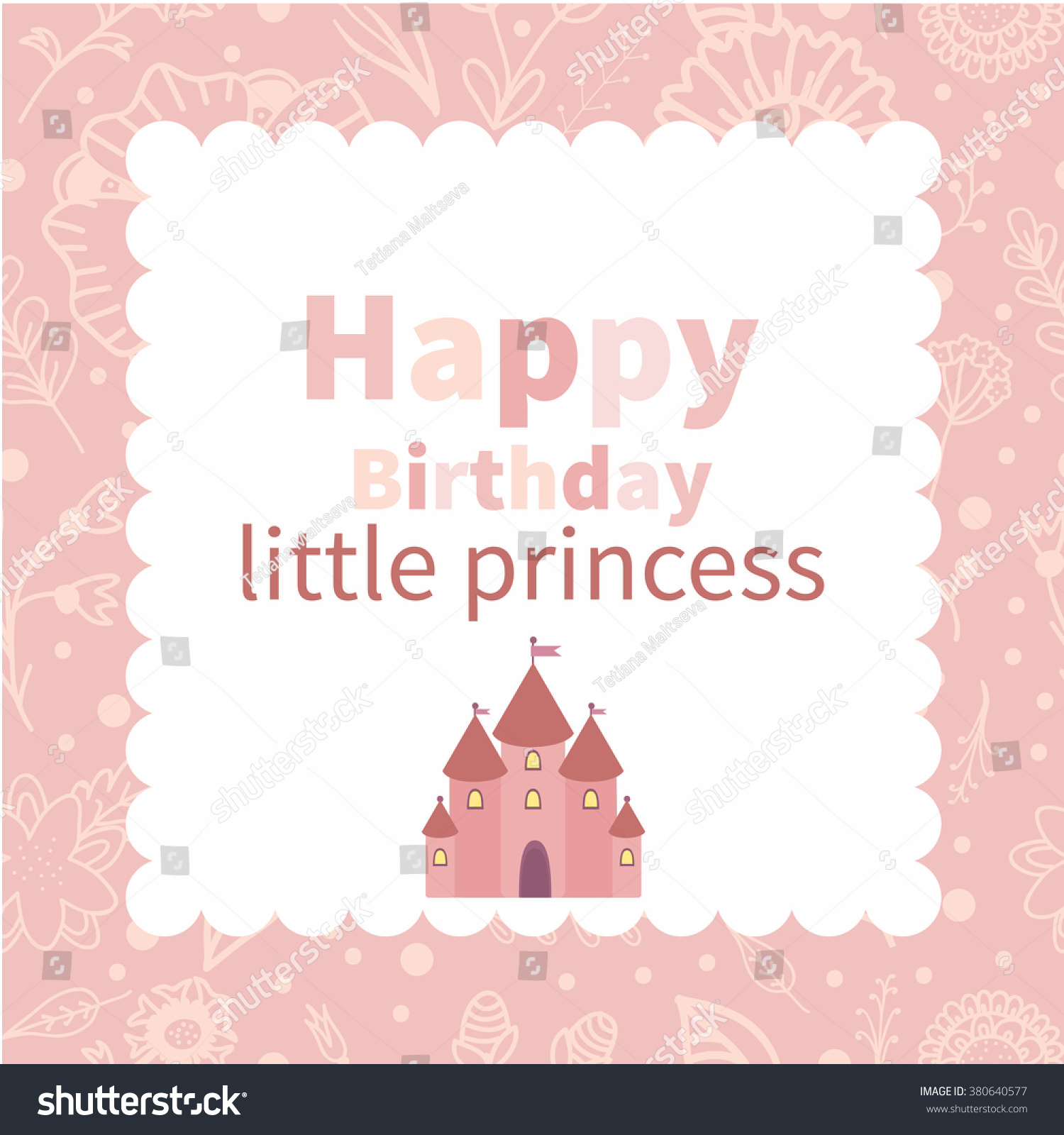 Happy Birthday Little Princess Birthday Card Stock Vector