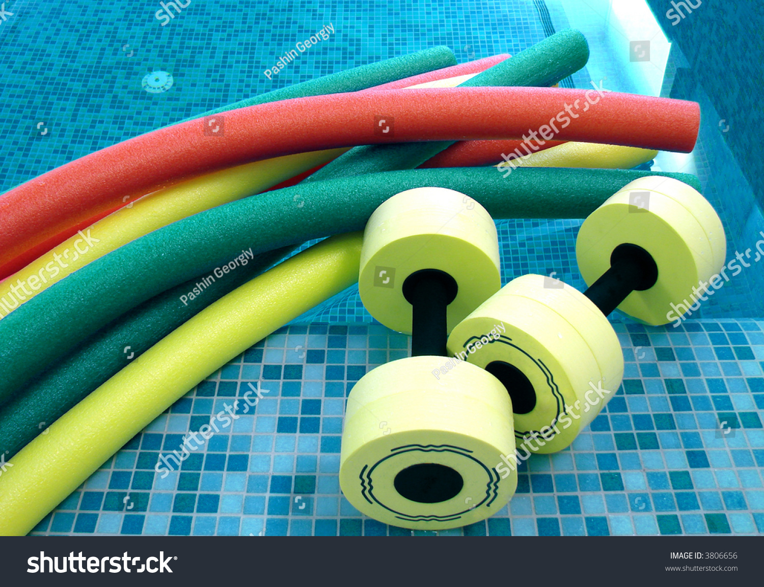 Aqua Noodles Dumbbells Aqua Aerobics Lie Stock Photo 3806656 ...
