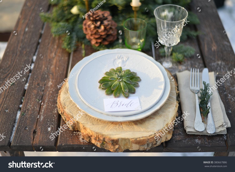 Winter Wedding Table Decoration Wood Style Stock Photo Edit Now