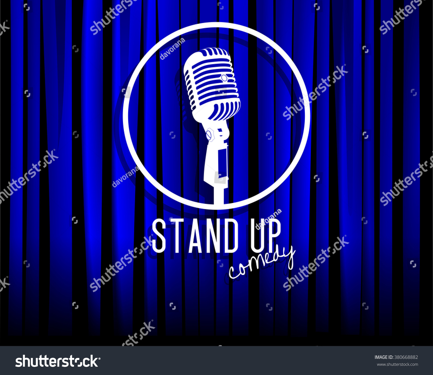 Blue curtain backdrop - Vintage White Silhouette Microphone Icon Against Blue Curtain Backdrop Mic On Empty Theatre Stage