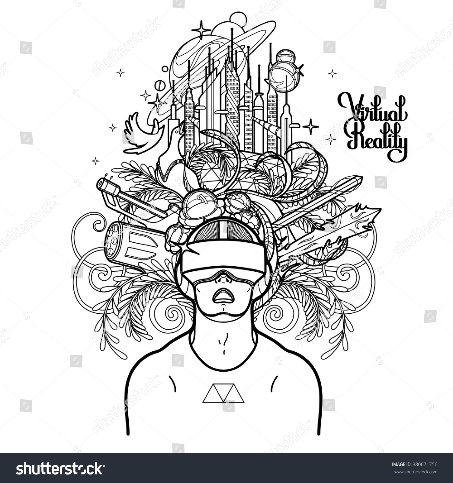 Graphic Man Open Mouth Wearing Virtual Stock Vector