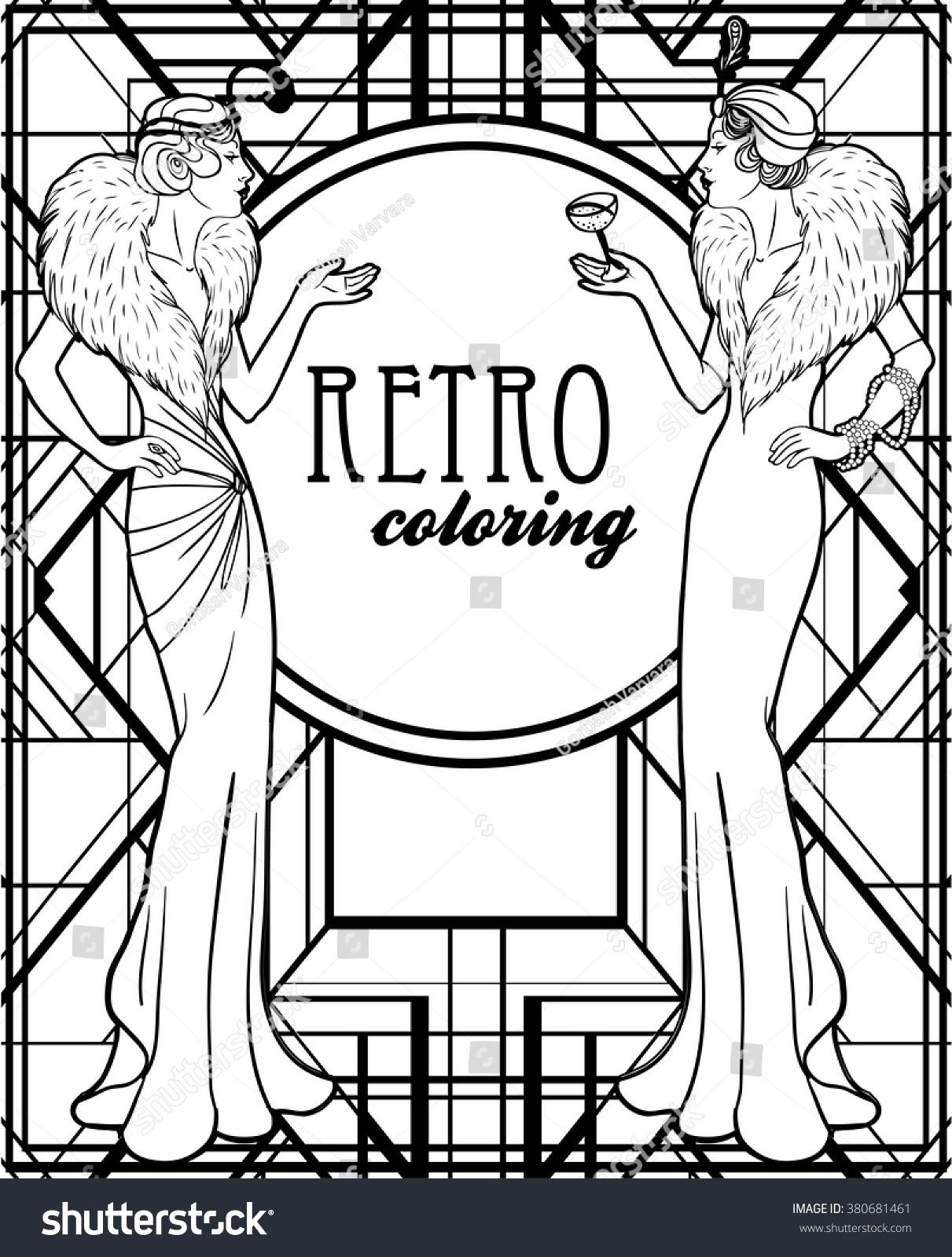 Coloring book for girl - Retro Coloring Book For Kids And Adults Retro Women Of Twenties Vector Illustration