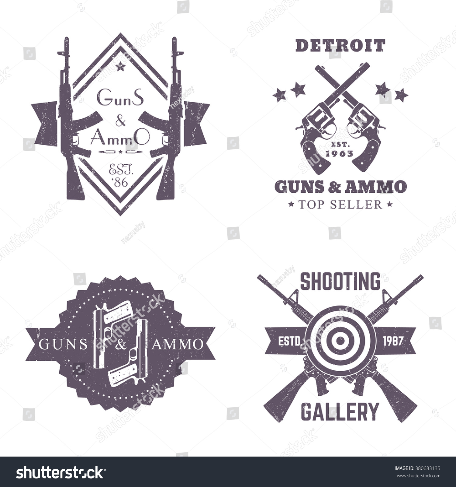 guns ammo vintage logos set badges stock vector 380683135