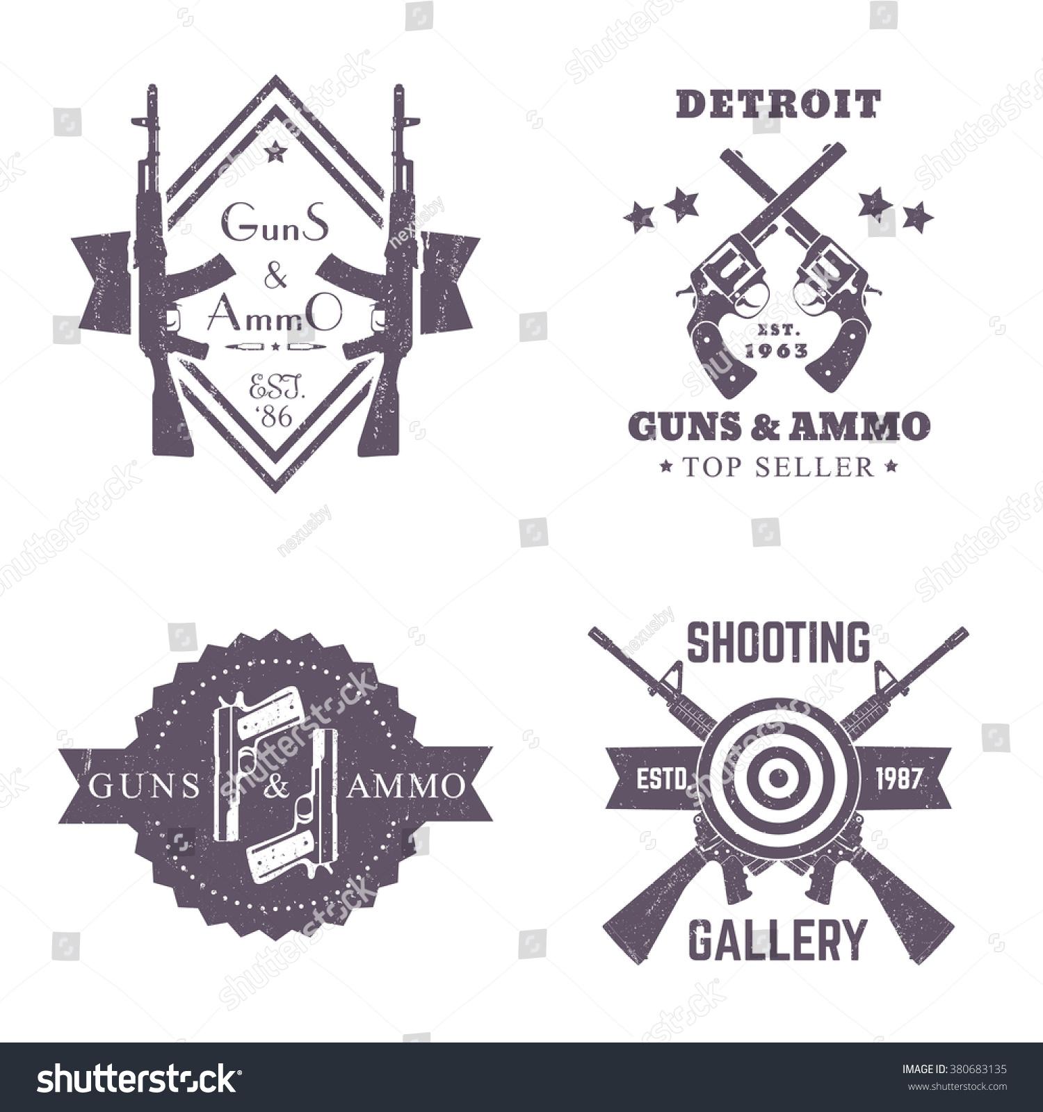 Guns Ammo Vintage Logos Set Badges Stock Vector 380683135 ...